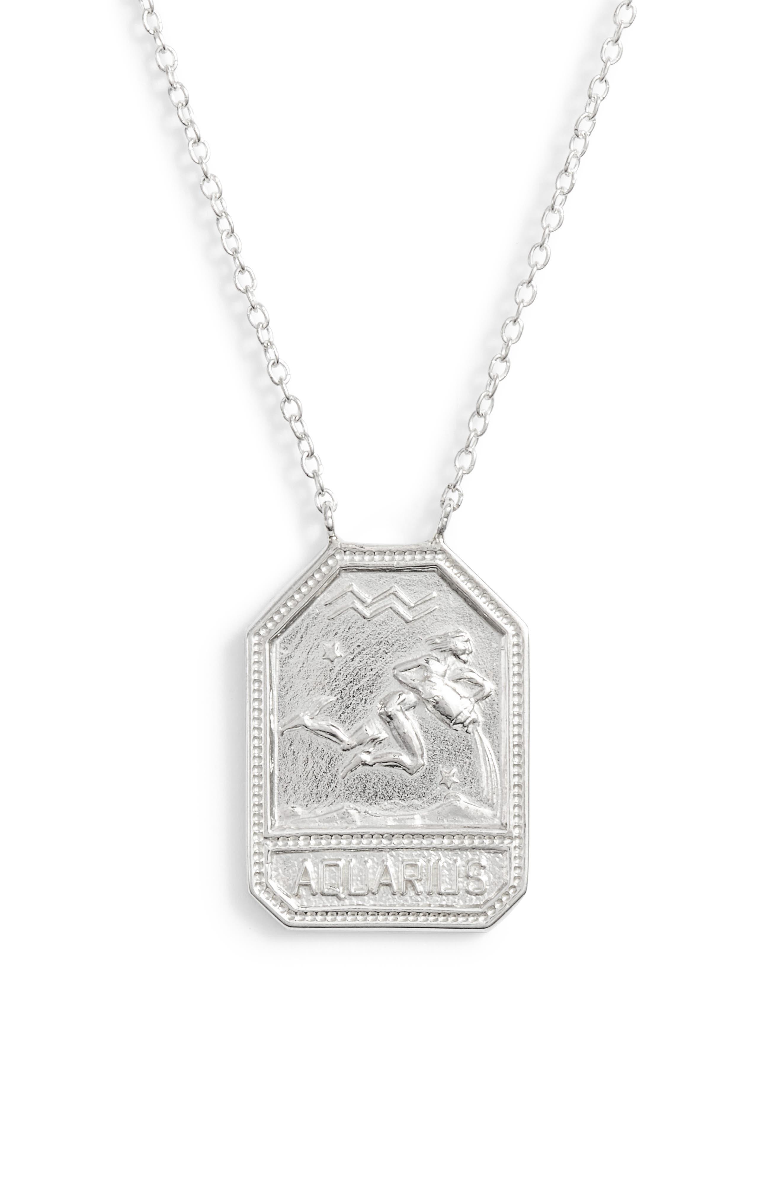 Jewelry Kiana Zodiac Pendant Necklace,                             Alternate thumbnail 2, color,                             AQUARIUS-SILVER