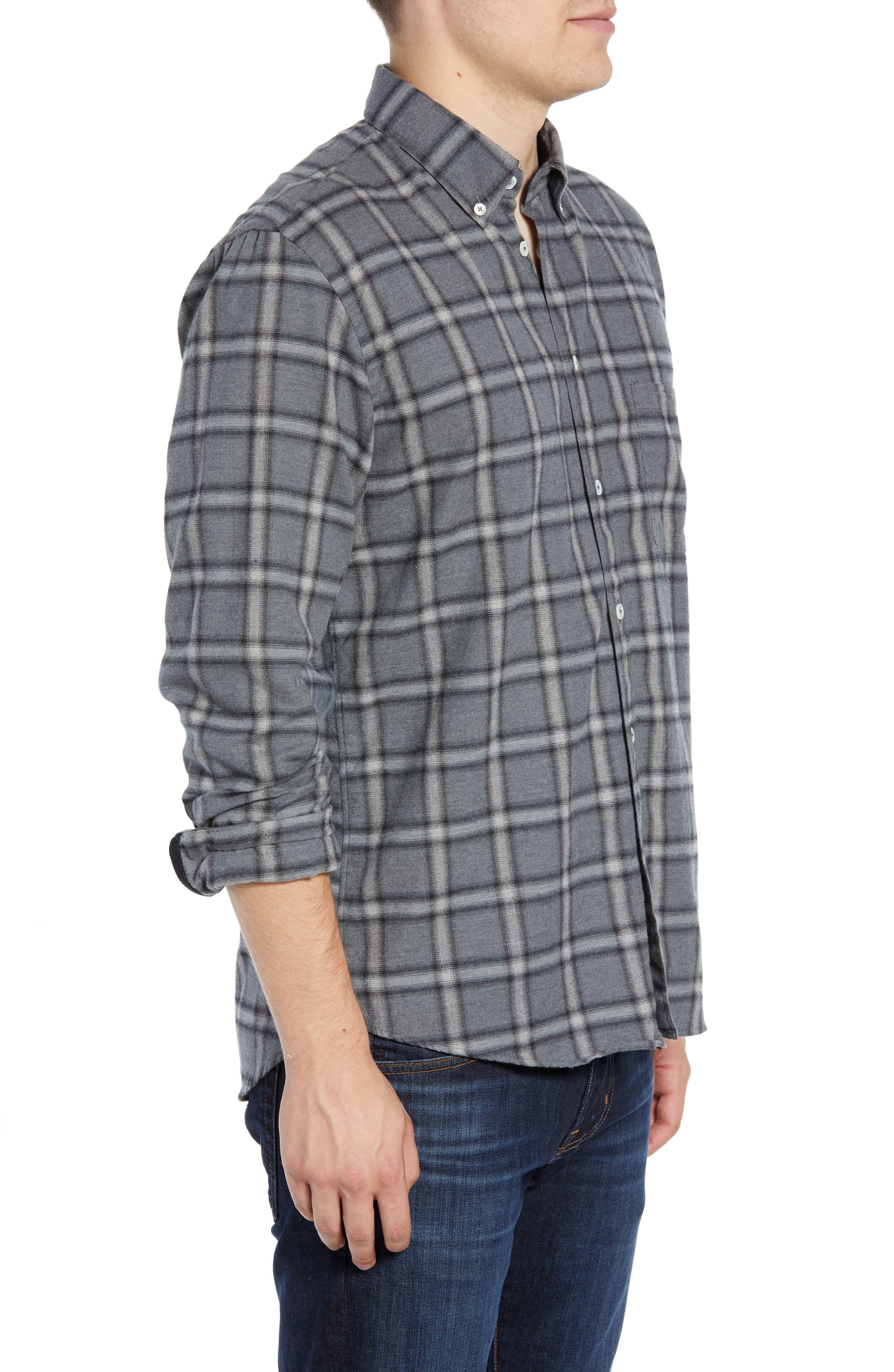 Tuscumbia Regular Fit Plaid Sport Shirt,                             Alternate thumbnail 4, color,                             BLUE/ GREY