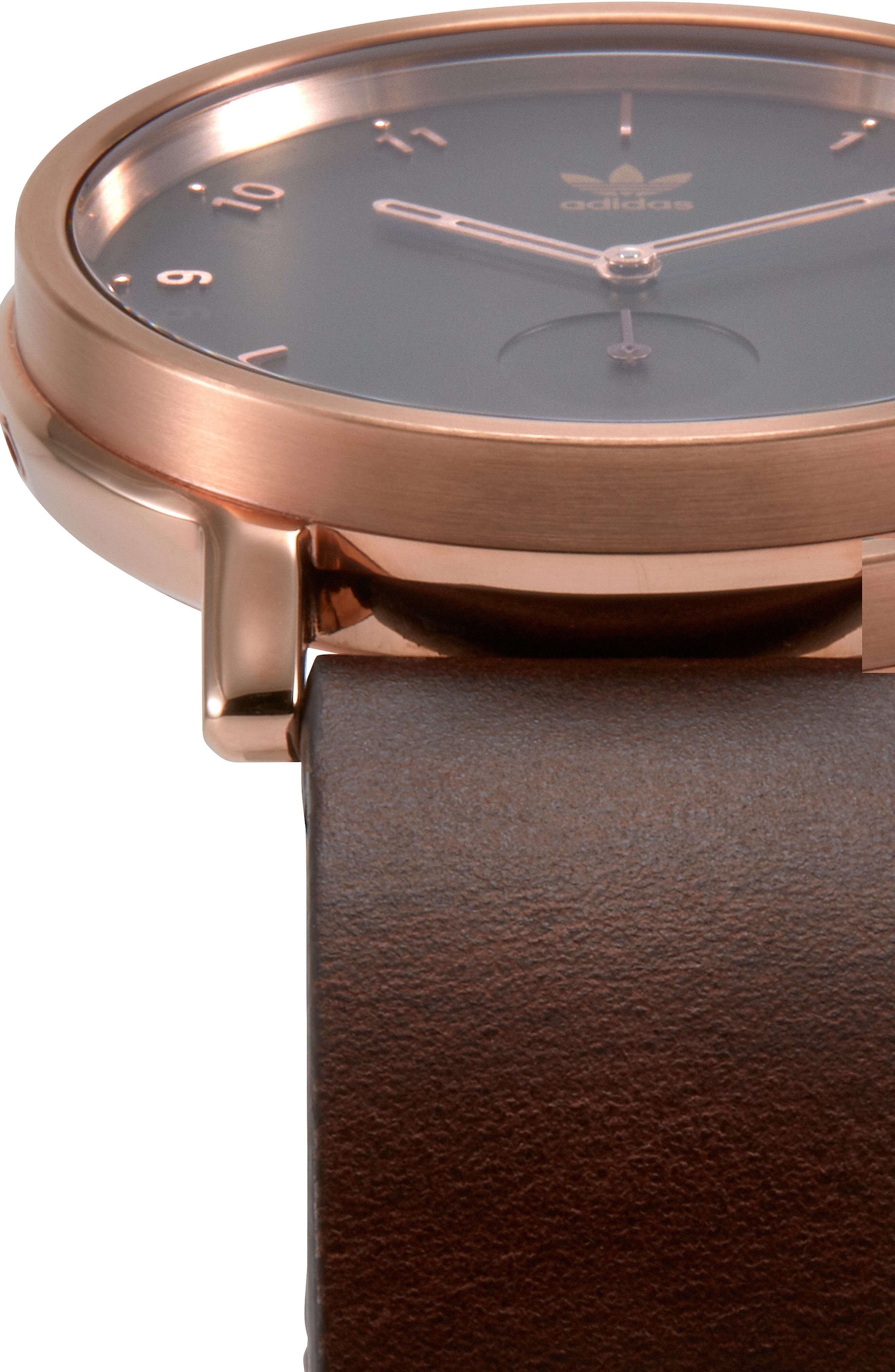 District Leather Strap Watch, 40mm,                             Alternate thumbnail 4, color,                             BROWN/ OLIVE/ ROSE GOLD