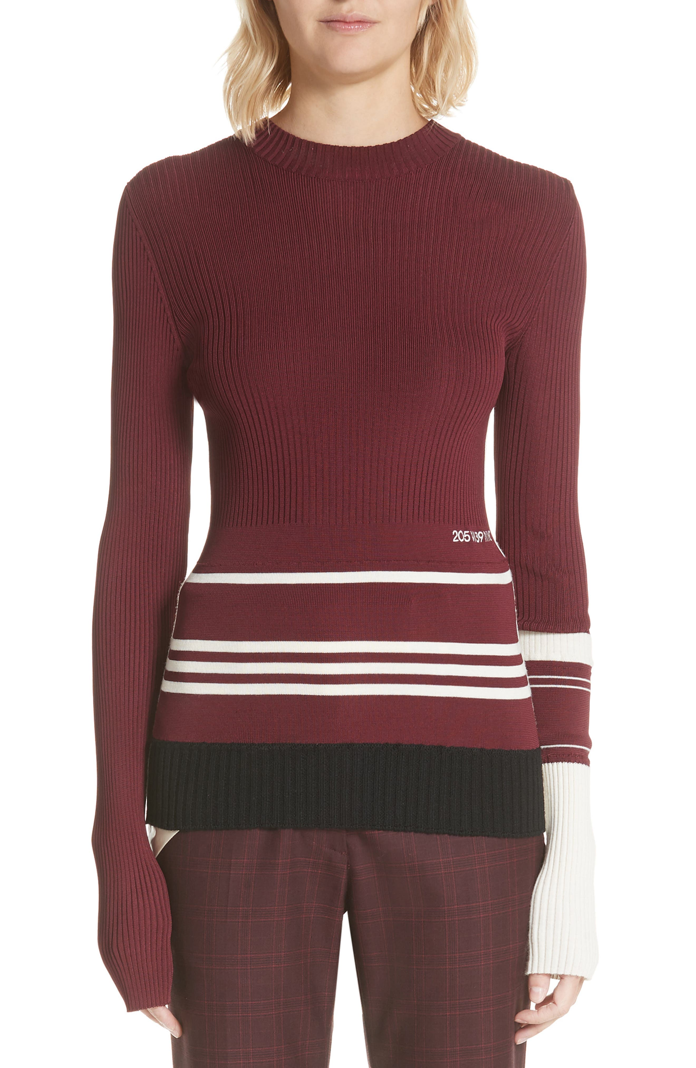 Calvin Klein 205W39Nyc Varsity Stripe Colorblock Sweater, Red