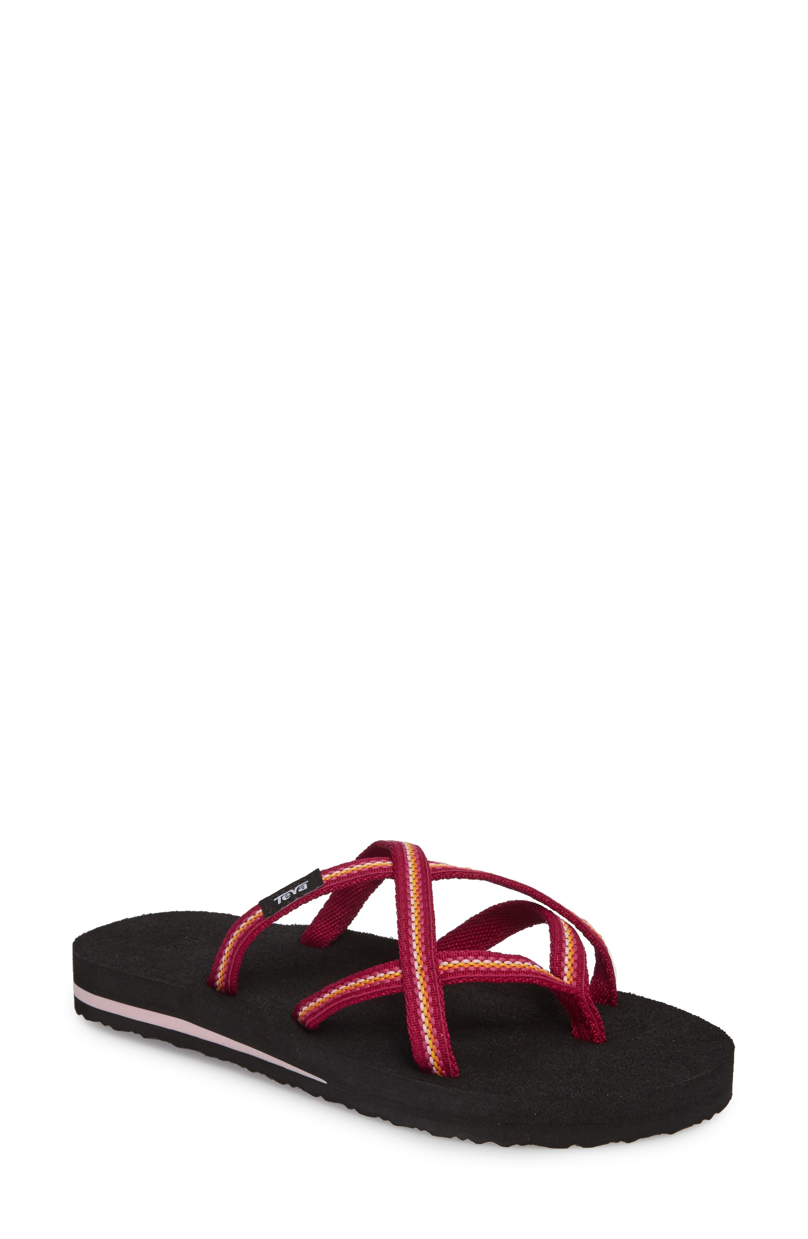 'Olowahu' Sandal,                             Main thumbnail 1, color,                             BOYSENBERRY FABRIC