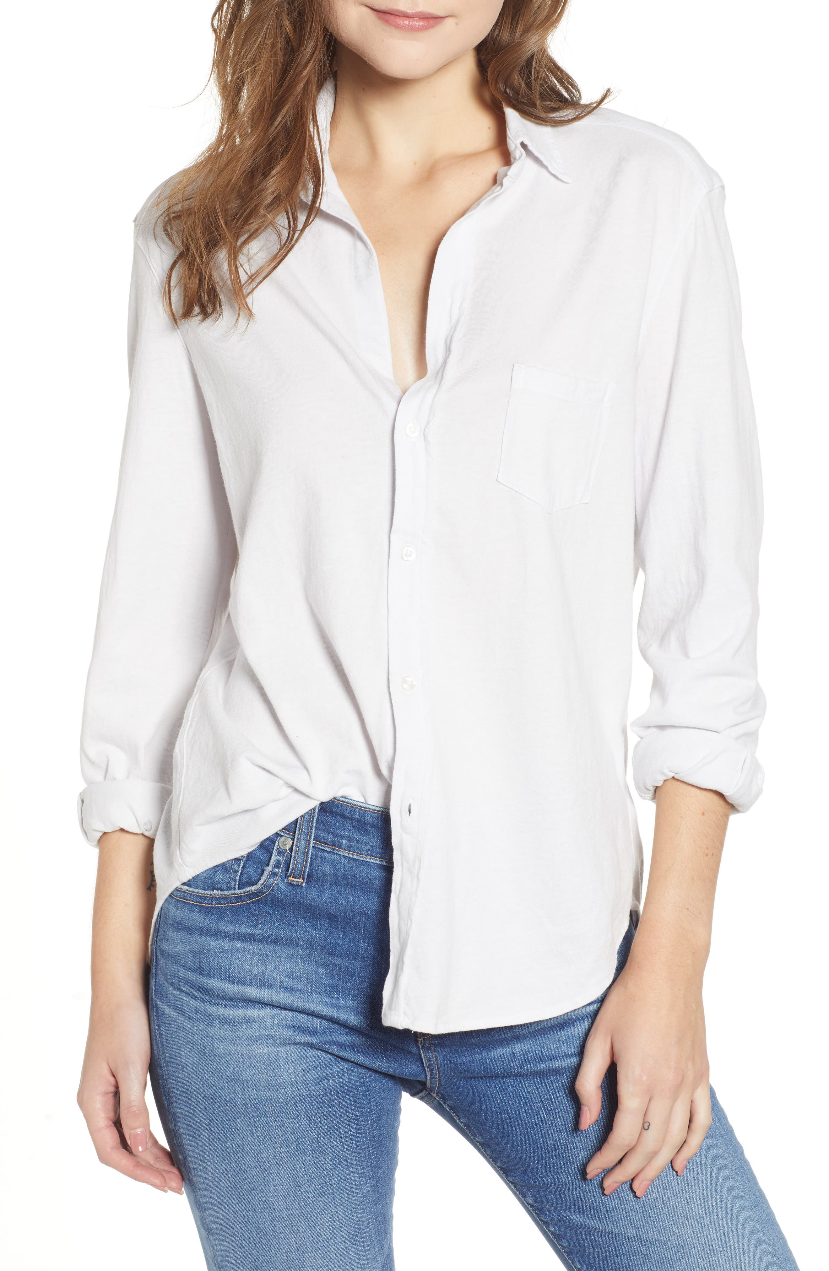 FRANK & EILEEN TEE LAB,                             Eileen Jersey Button Front Shirt,                             Main thumbnail 1, color,                             DIRTY WHITE