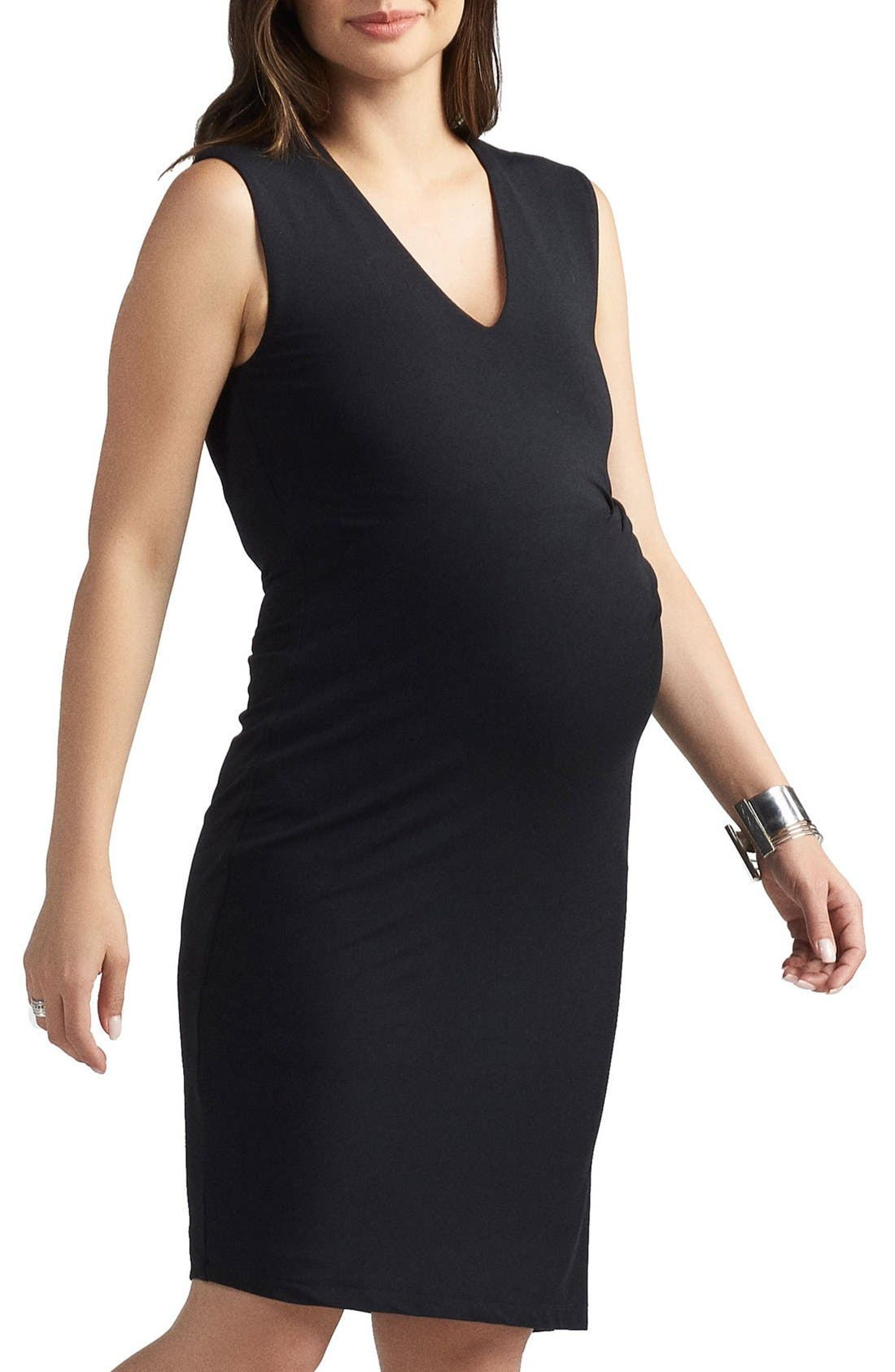 Margaux Maternity Dress,                             Alternate thumbnail 3, color,                             BLACK