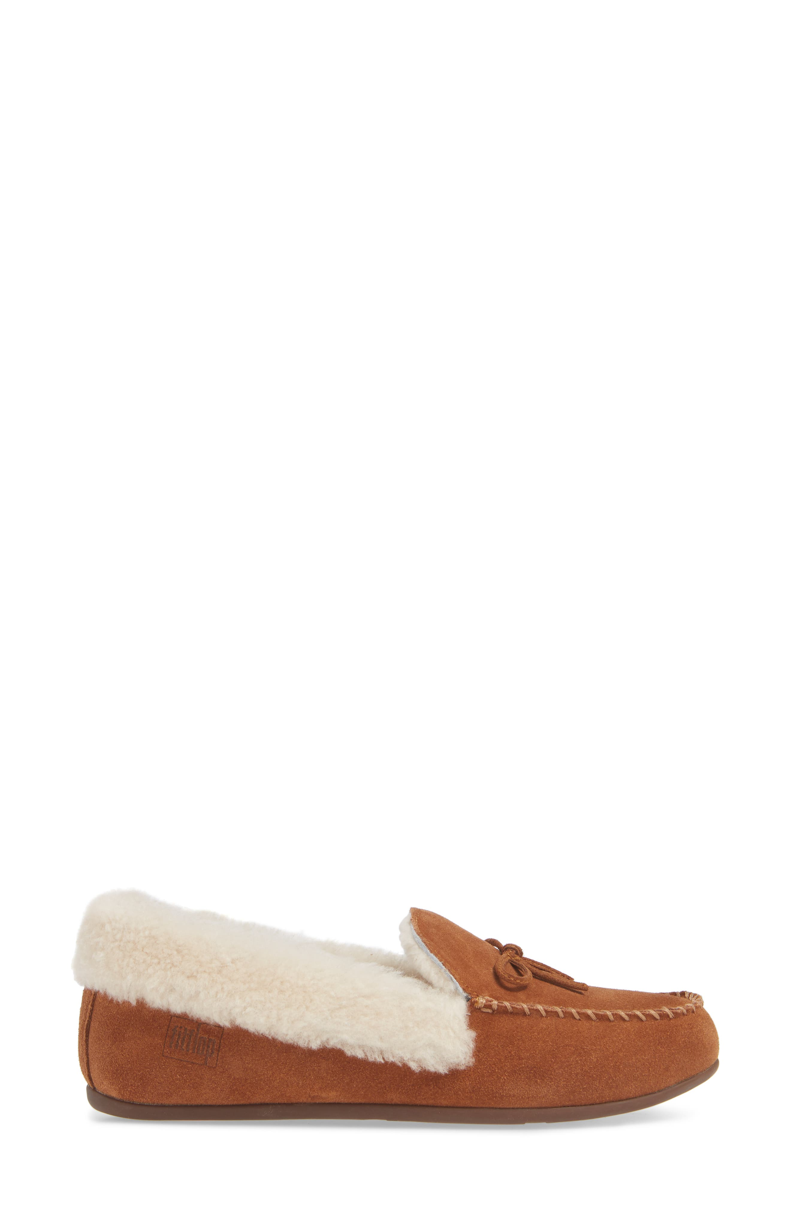 Clara Genuine Shearling Lined Moccasin,                             Alternate thumbnail 3, color,                             TUMBLED TAN SUEDE