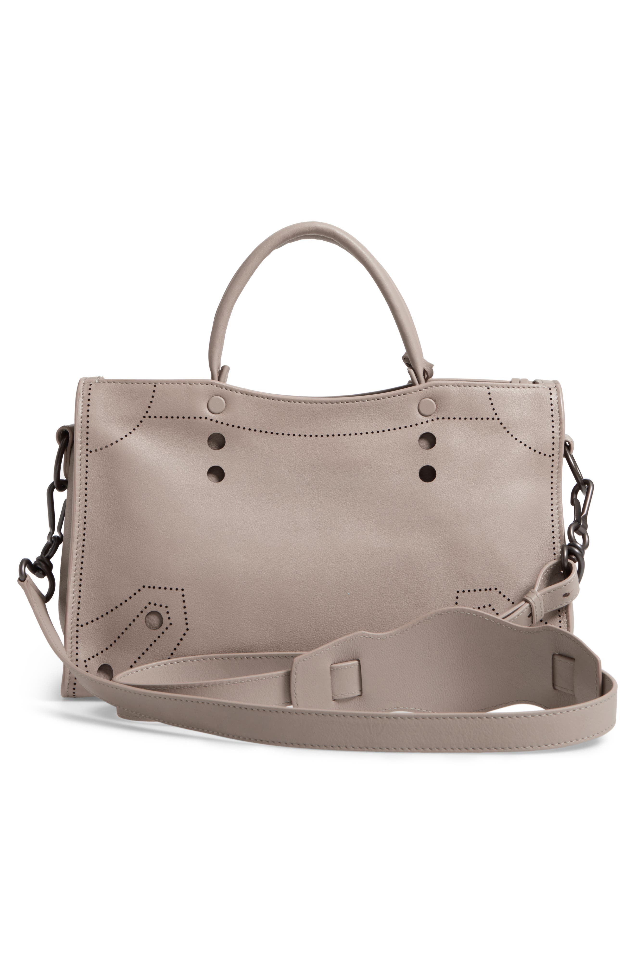 Small Blackout City Leather Tote,                             Alternate thumbnail 3, color,                             025