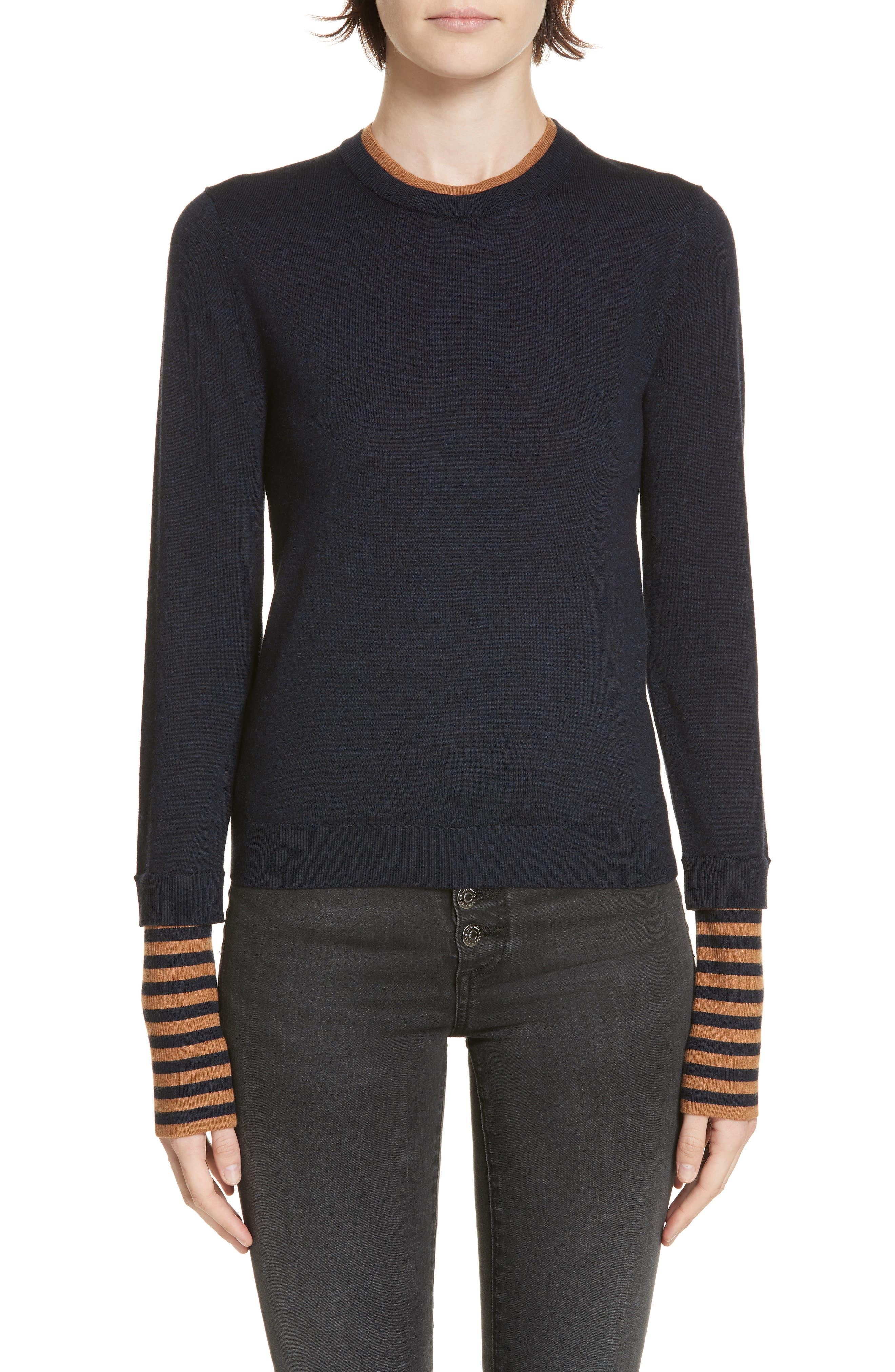Veronica Beard Avory Contrast Cuff Merino Wool Sweater, Blue