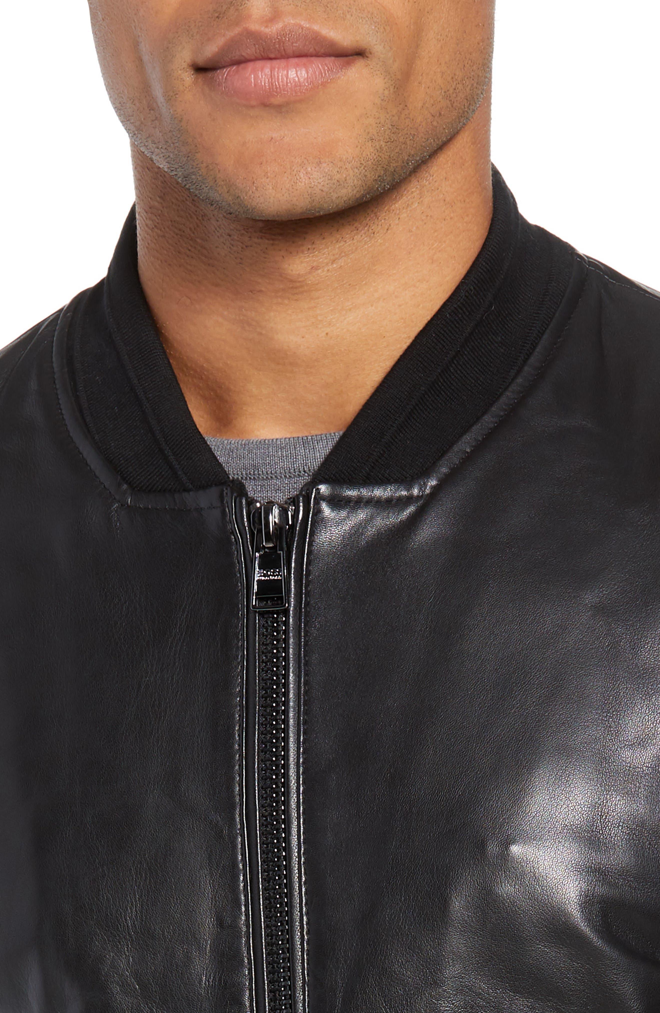 Arinos Leather Bomber Jacket,                             Alternate thumbnail 4, color,                             BLACK