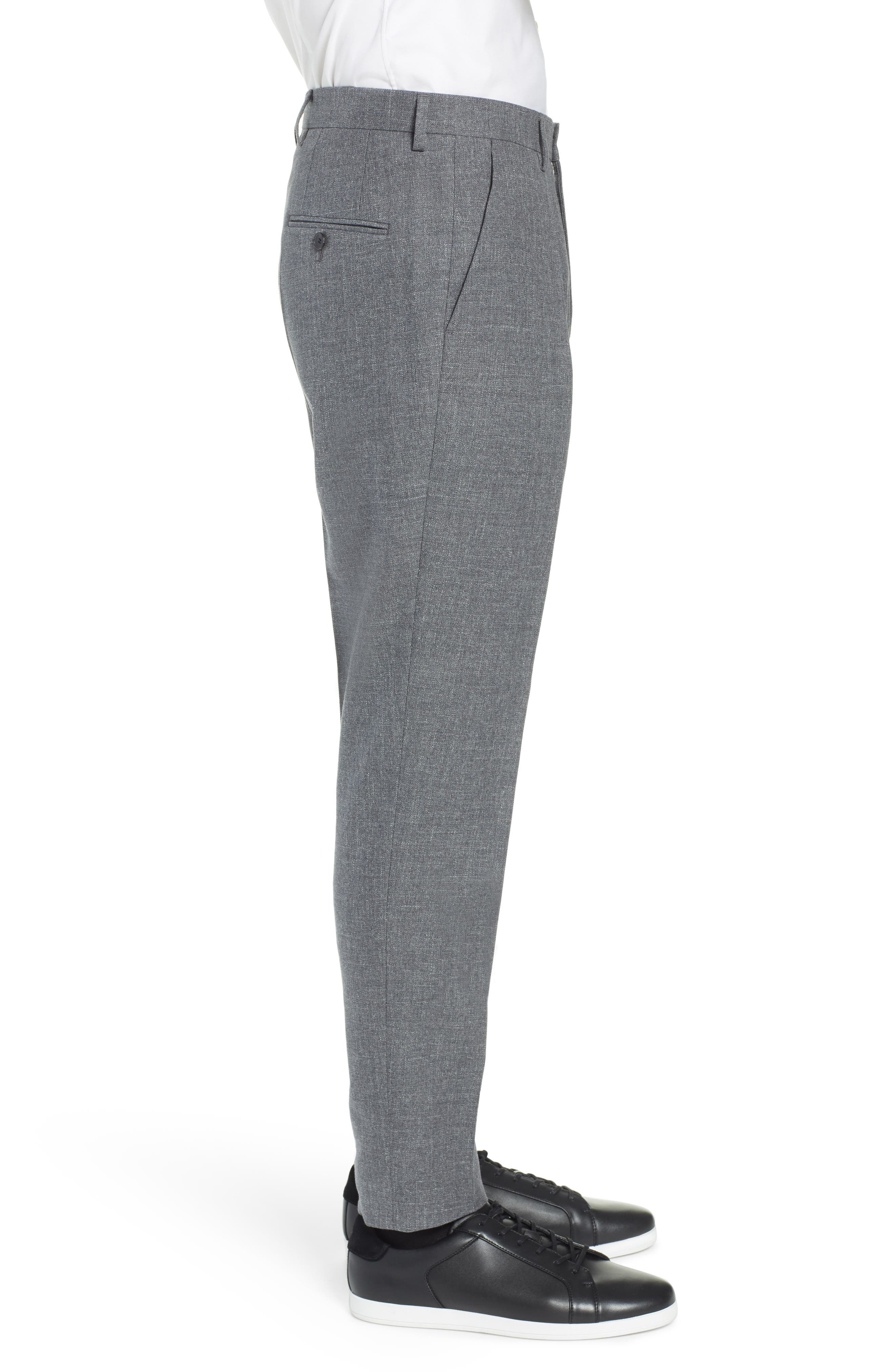Ole Pleated Solid Wool & Cotton Trousers,                             Alternate thumbnail 3, color,                             MEDIUM GREY