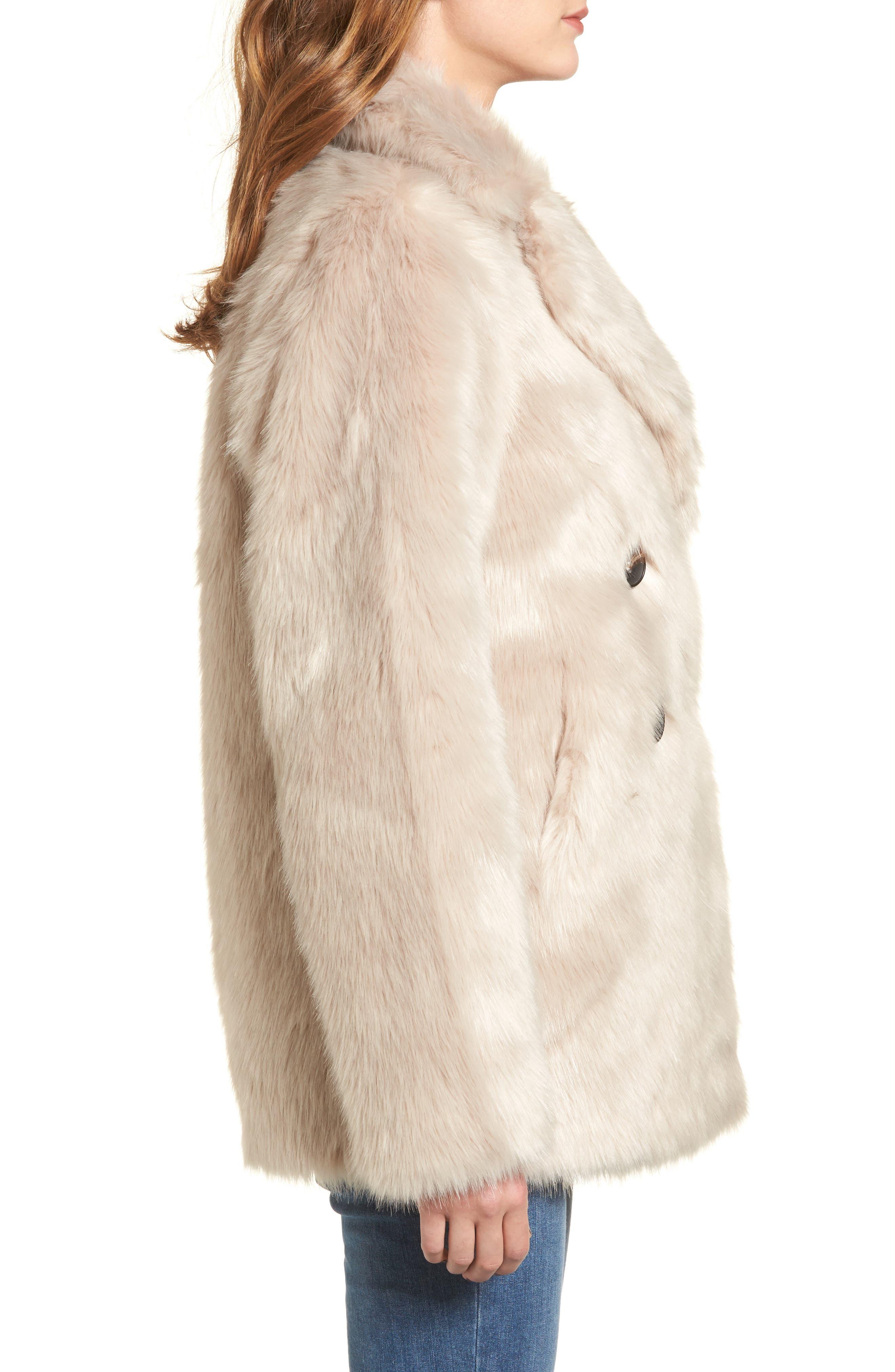 Faux Fur Coat,                             Alternate thumbnail 3, color,                             900