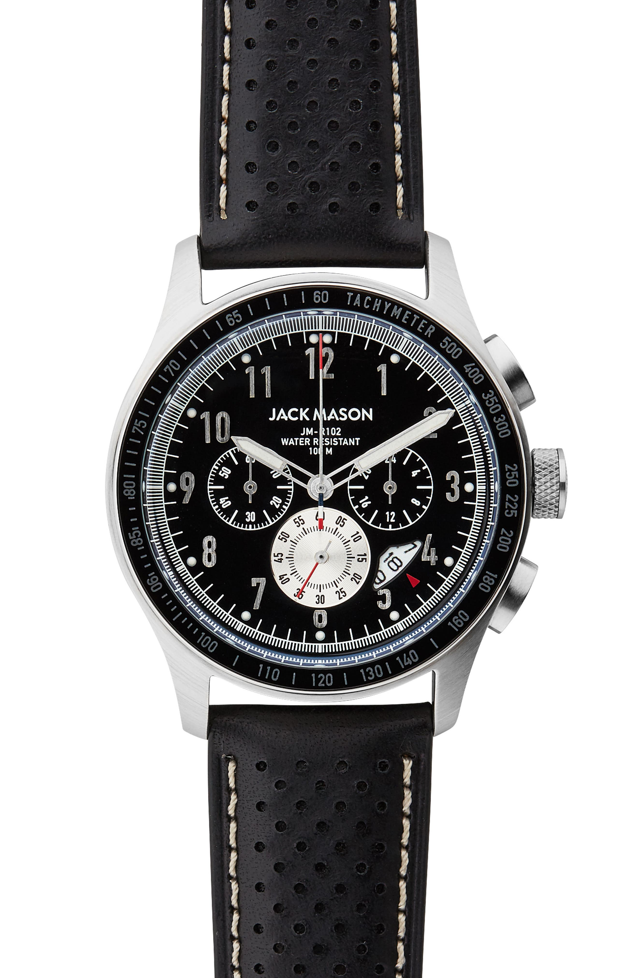 Racing Chronograph Leather Strap Watch, 42mm,                             Main thumbnail 1, color,                             BLACK/ BLACK