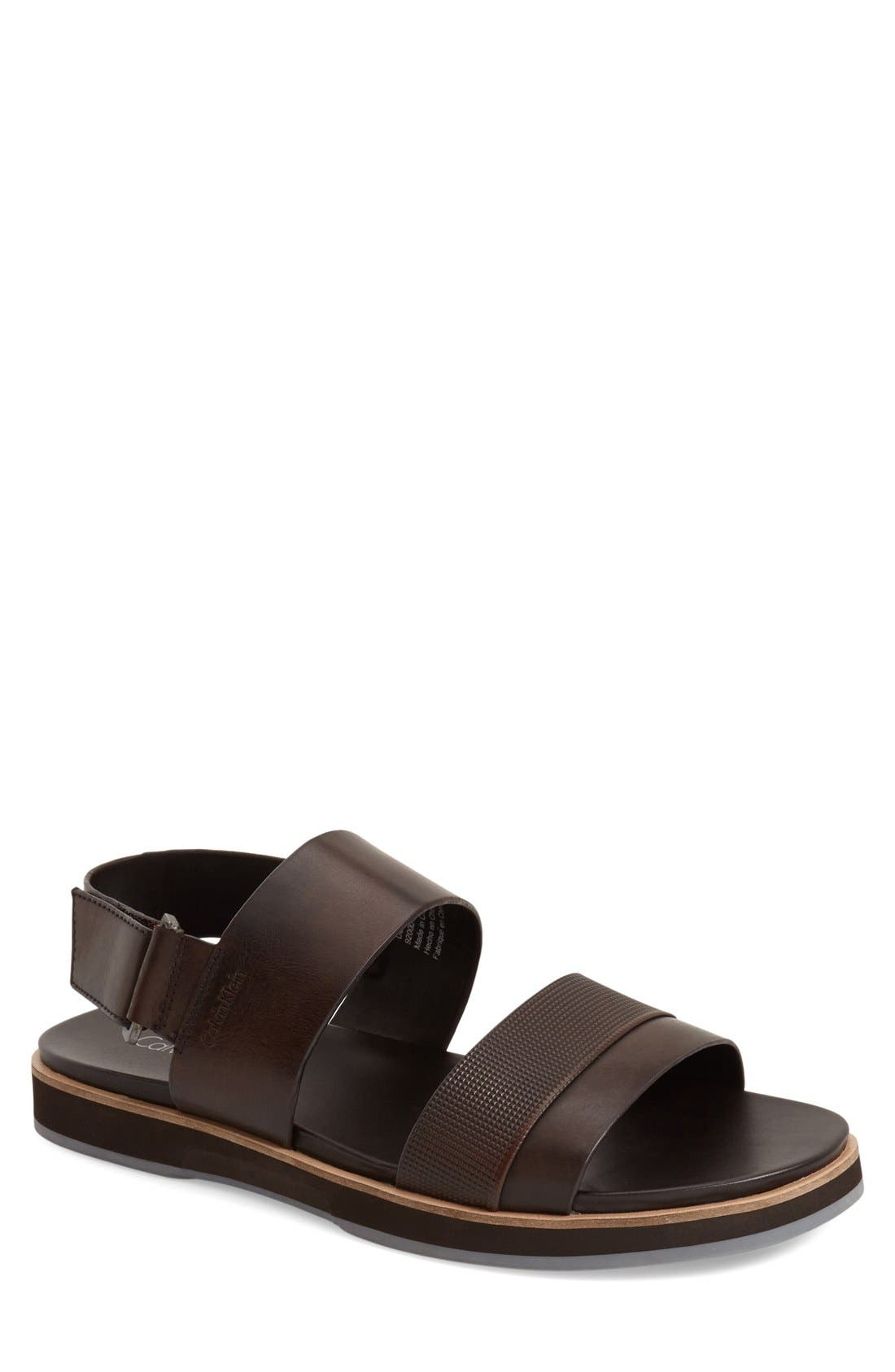 'Dex' Embossed Leather Sandal,                             Main thumbnail 5, color,
