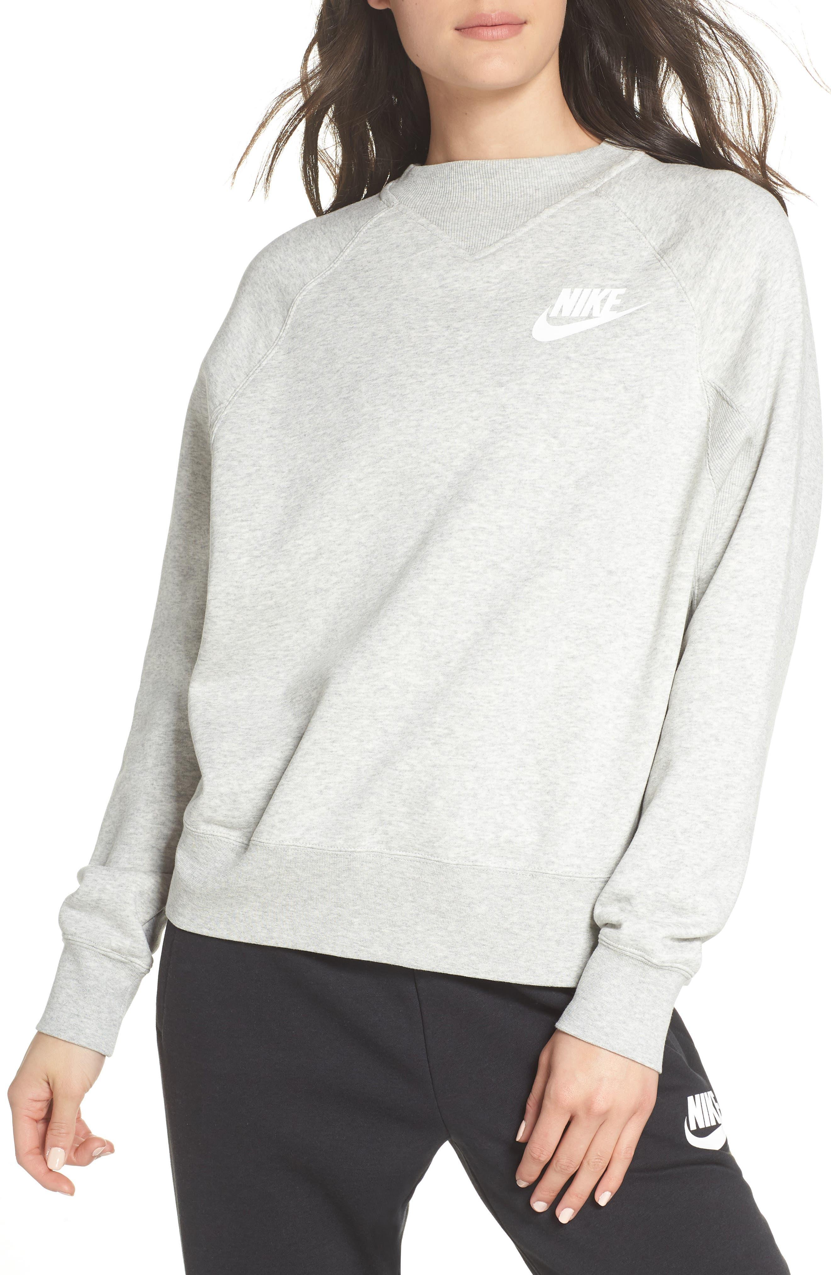 Sportswear Rally Sweatshirt,                         Main,                         color, GREY HEATHER/ WHITE
