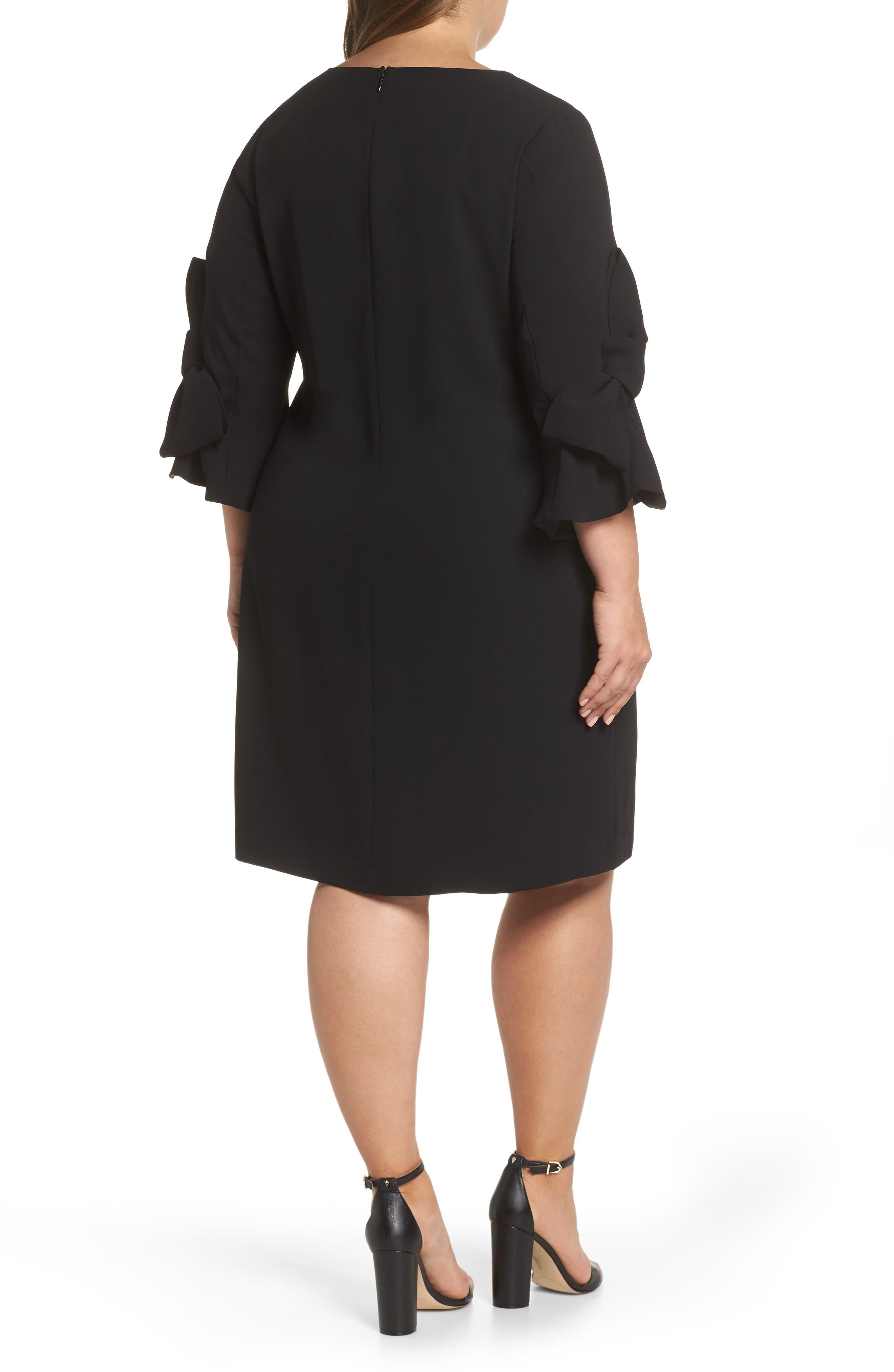 Moss Crepe Bow Shift Dress,                             Alternate thumbnail 2, color,                             RICH BLACK