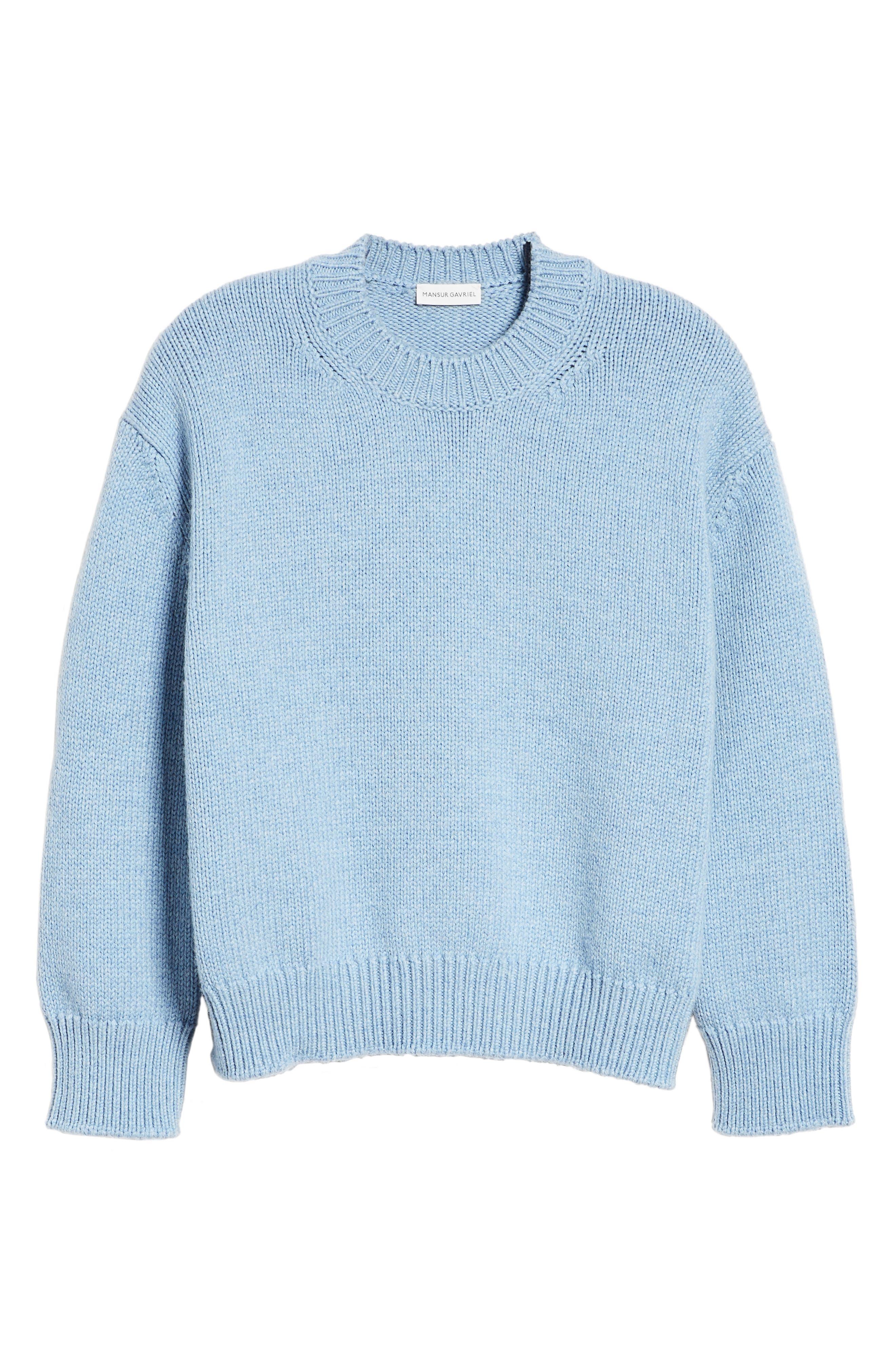 Merino Wool Sweater,                             Alternate thumbnail 6, color,                             SKY BLUE