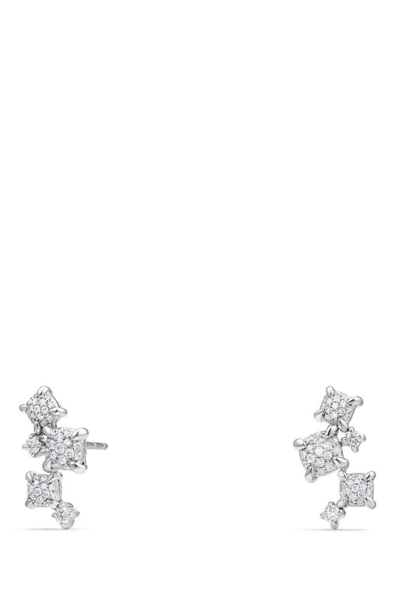 Petite Châtelaine Climber Earrings in 18K Gold with Diamonds,                         Main,                         color, WHITE GOLD
