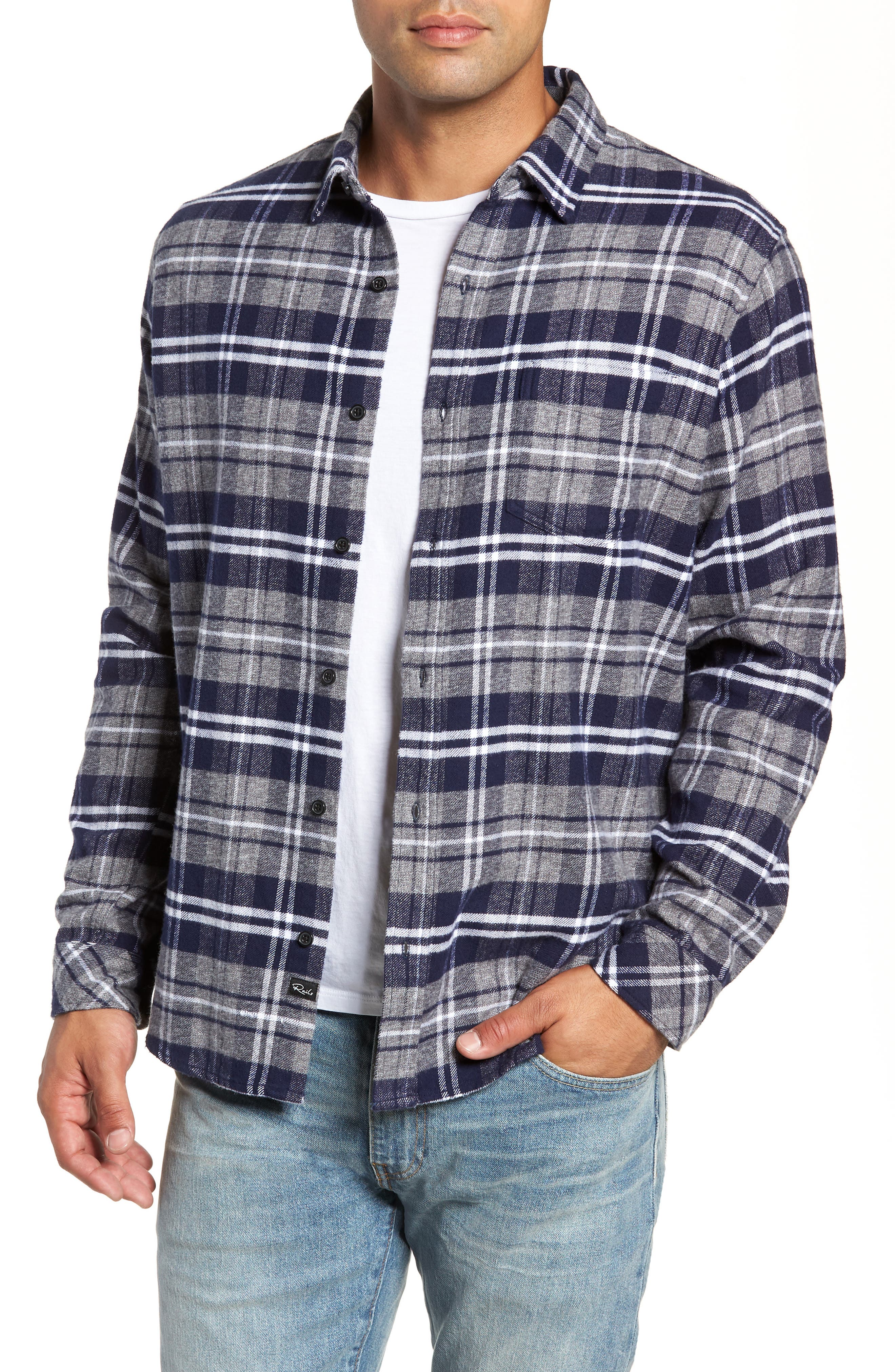 Forrest Slim Fit Plaid Flannel Sport Shirt,                         Main,                         color, NAVY/LIGHT GREY/WHITE