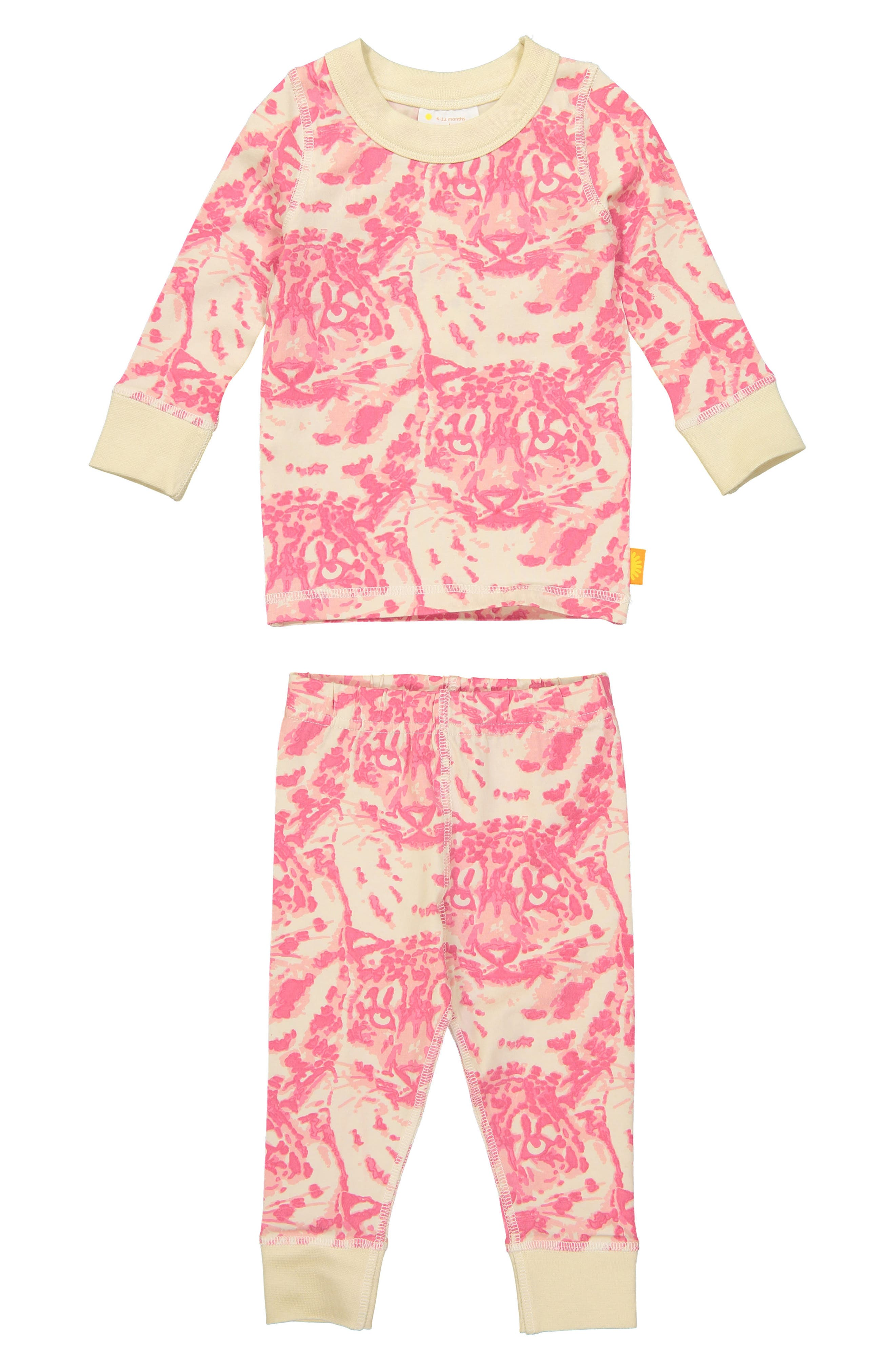 Cat Camo Organic Cotton Fitted Two-Piece Pajamas,                             Main thumbnail 1, color,                             PINK