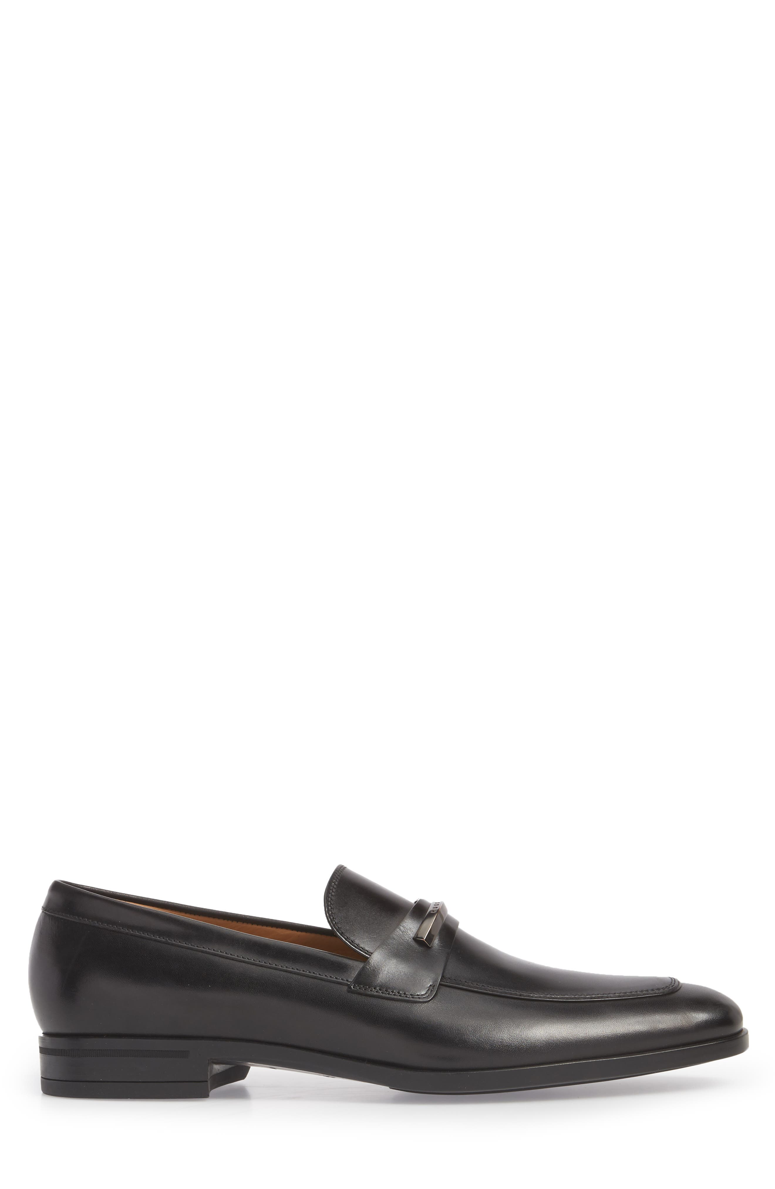 Hugo Boss Portland Solid Bit Loafer,                             Alternate thumbnail 3, color,                             BLACK LEATHER