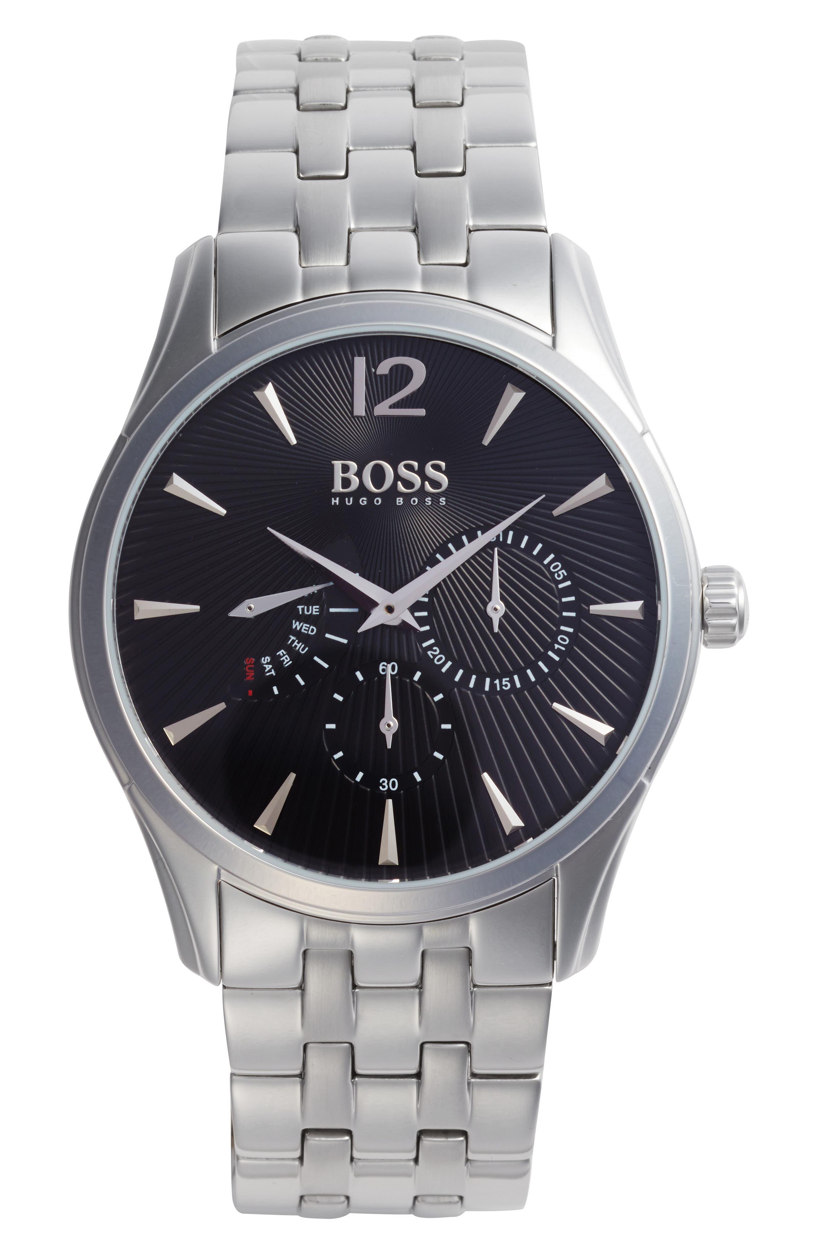 Commander Multifunction Bracelet Watch, 41mm,                             Main thumbnail 1, color,                             BLACK/ SILVER