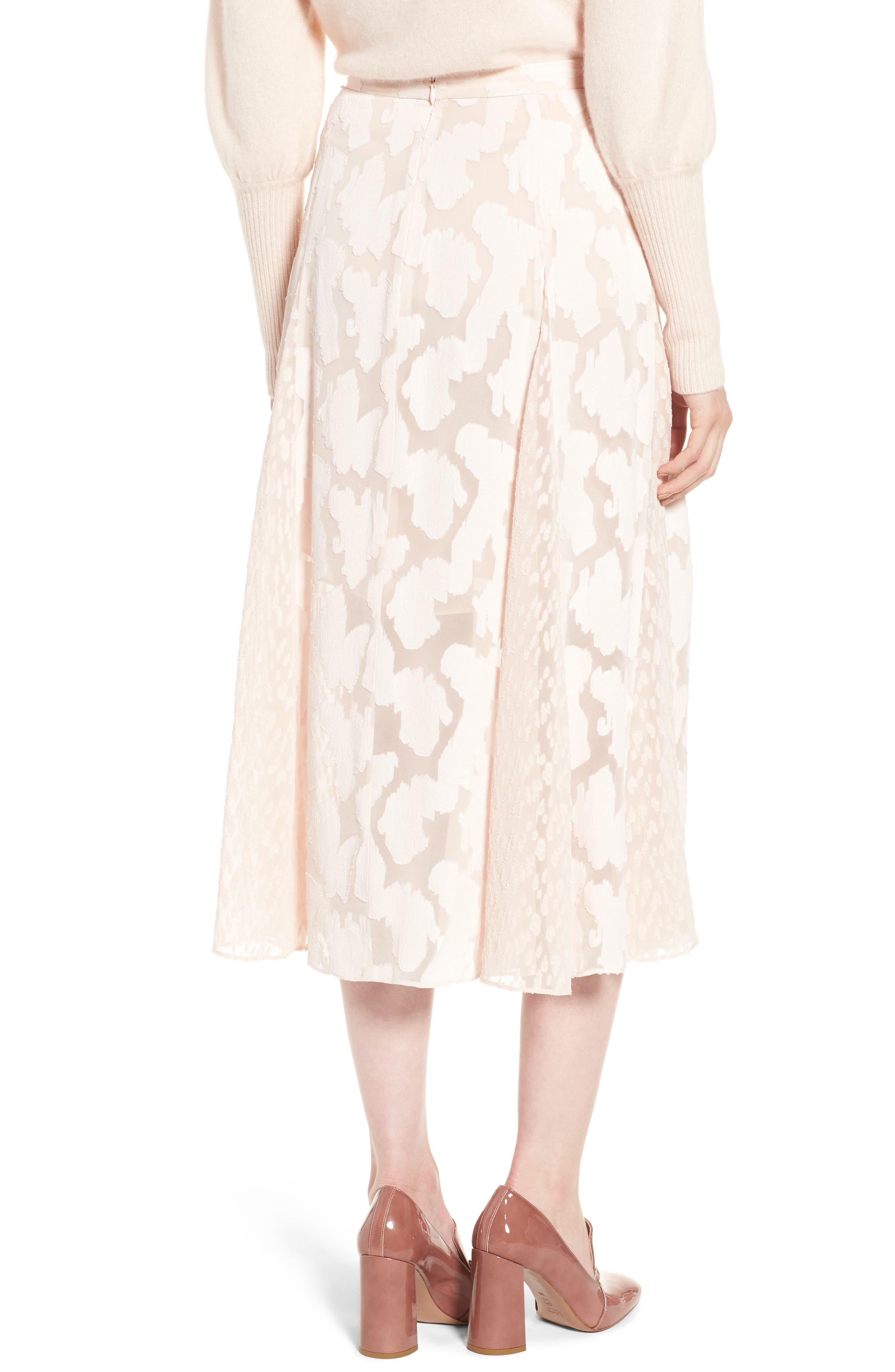 Clip Jacquard Godet Skirt,                             Alternate thumbnail 4, color,