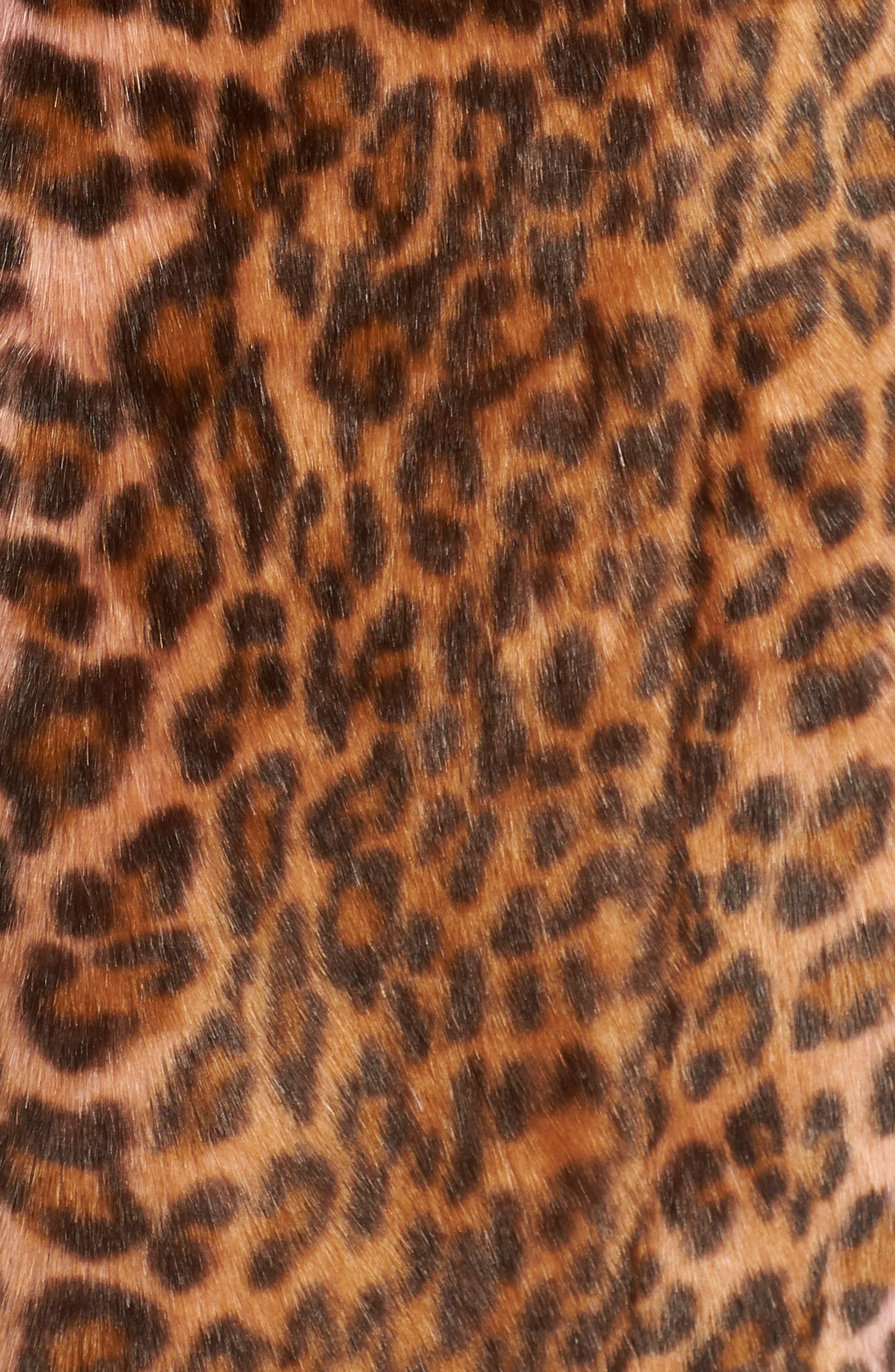 Leopard Print Faux Fur Car Coat,                             Alternate thumbnail 7, color,                             PINK LEOPARD