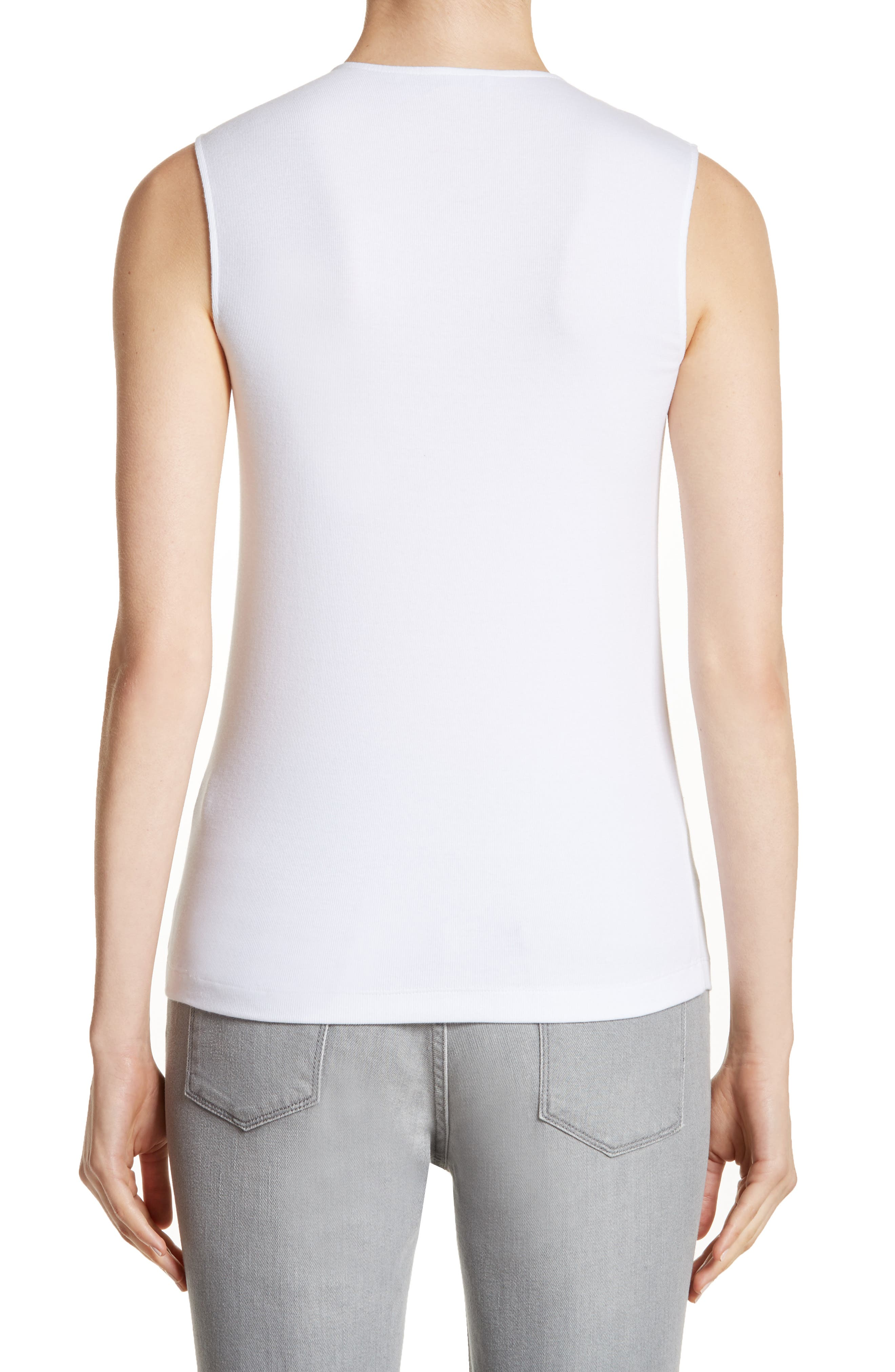 Beaded Ribbed Cotton Blend Jersey Tank,                             Alternate thumbnail 2, color,                             100