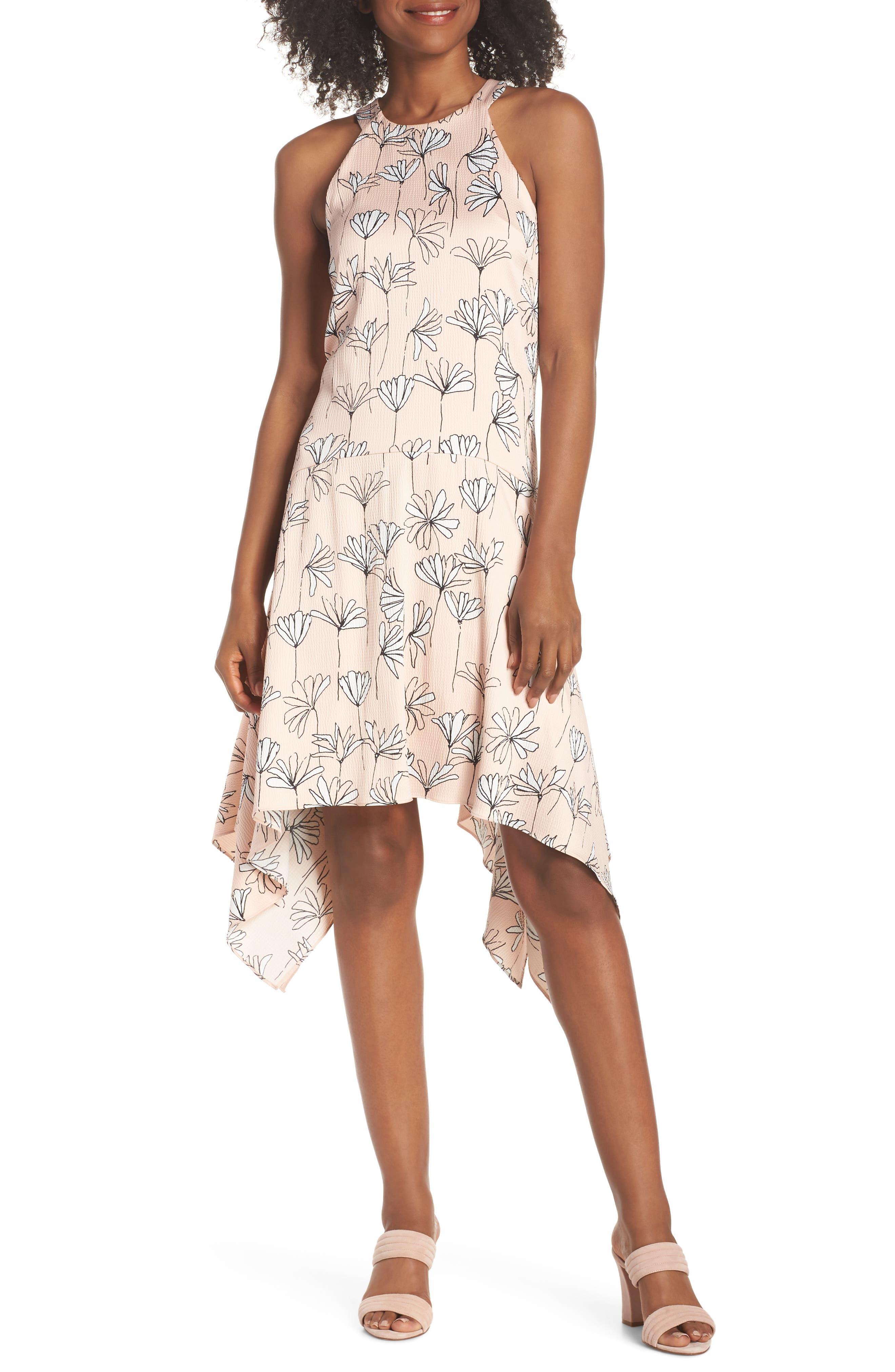 Printed Handkerchief Hem Dress,                         Main,                         color, BLUSH/ SOFT WHITE