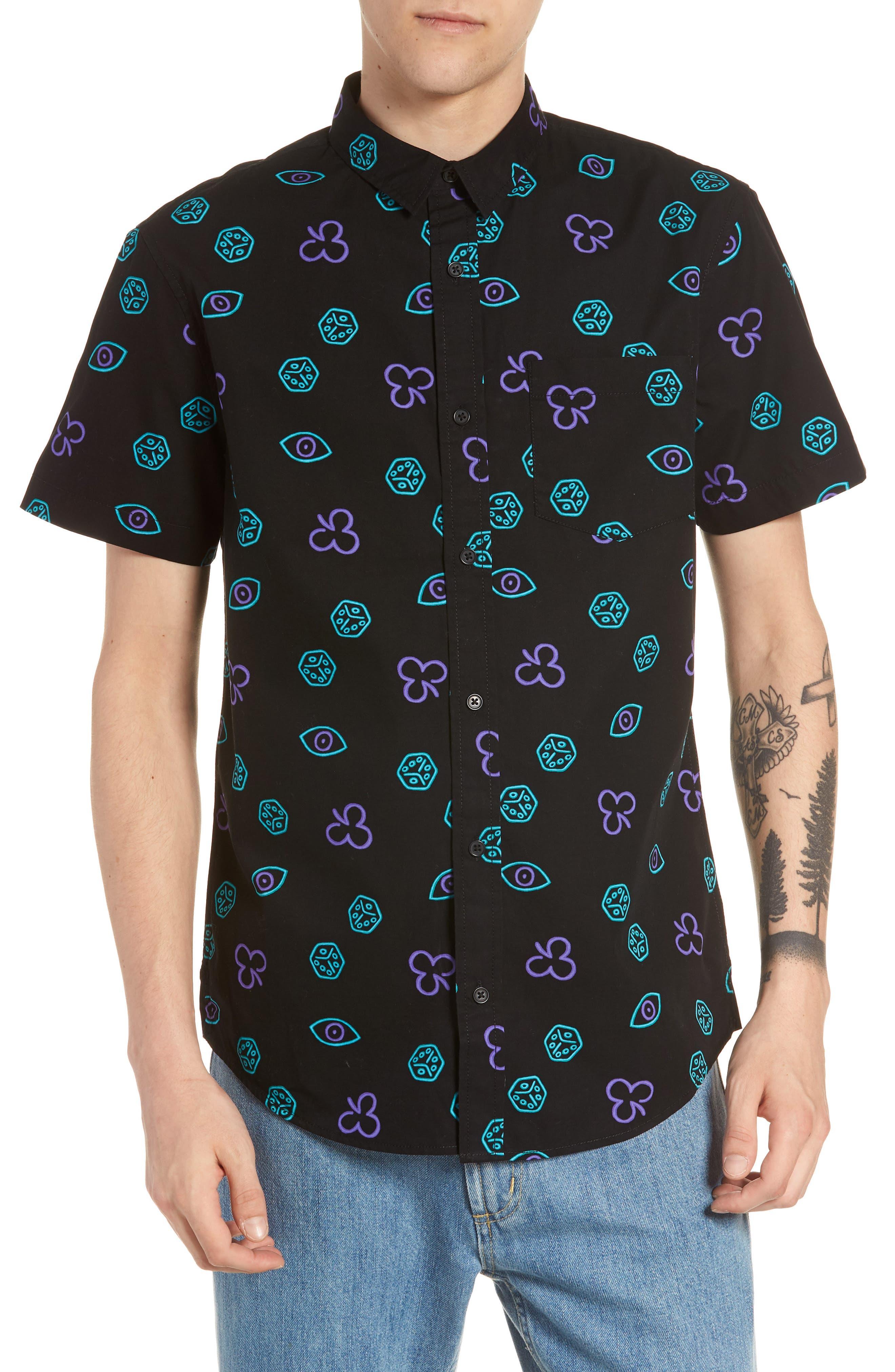 Short Sleeve Print Poplin Shirt,                         Main,                         color, BLACK BLUE NEON DICE EYES