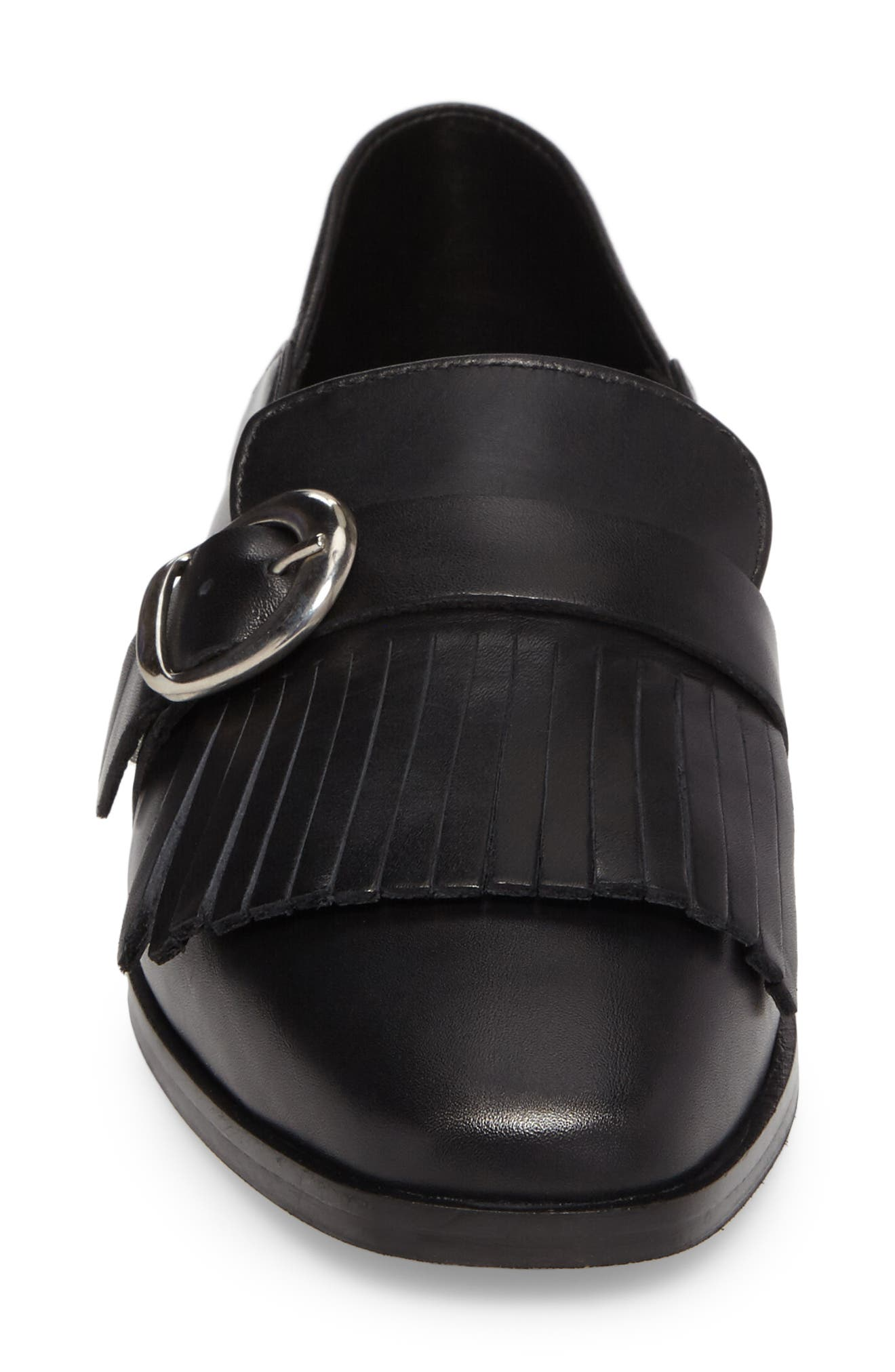 Dame Fringed Loafer Flat,                             Alternate thumbnail 4, color,                             001