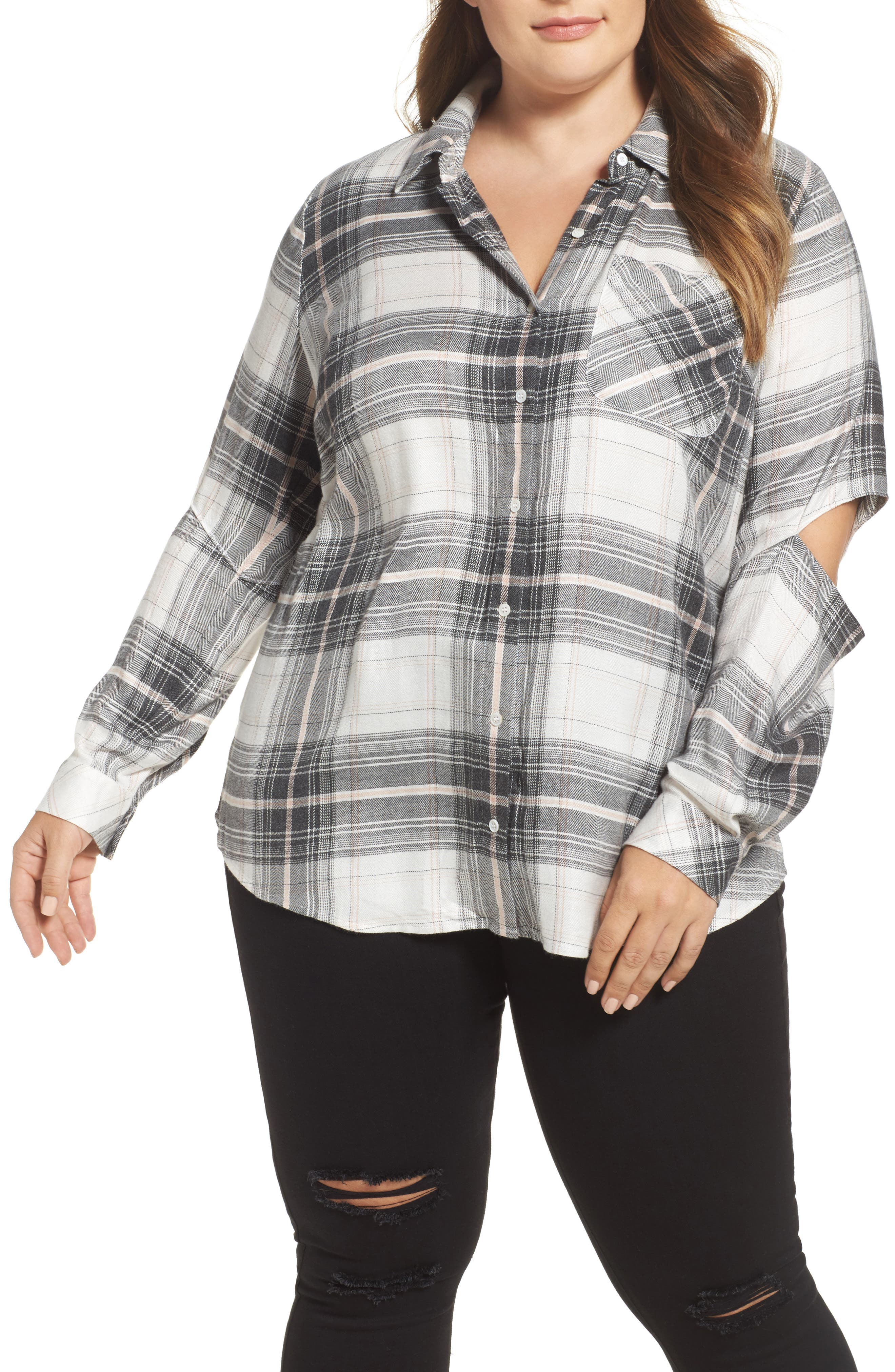 Cold Elbow Linearscape Plaid Shirt,                         Main,                         color, 669