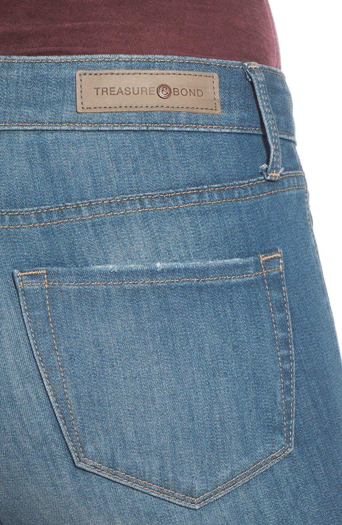 Treasure&Bond High Rise Skinny Flare Jeans,                             Alternate thumbnail 6, color,                             400