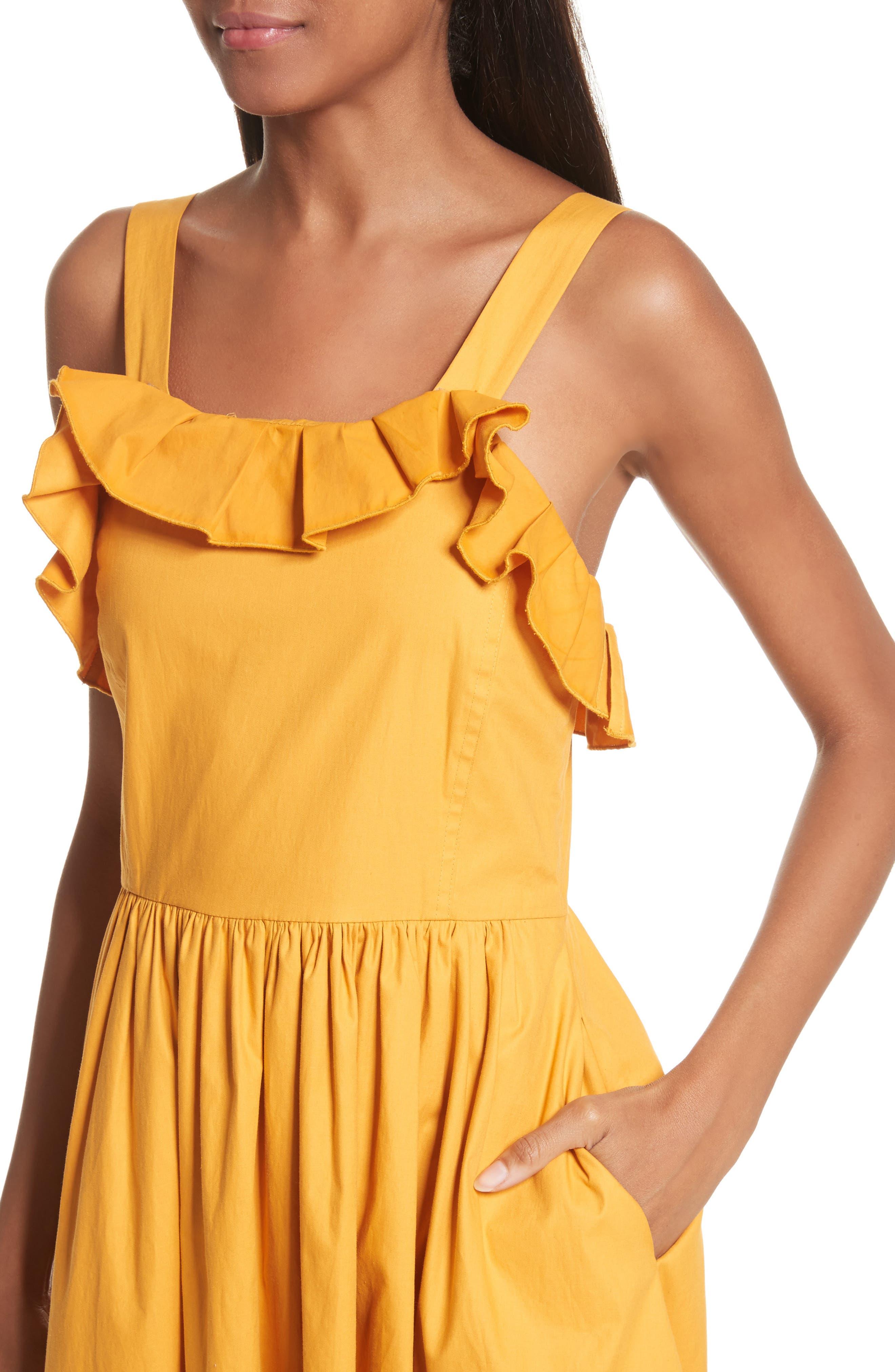 Sunrise Ruffle Midi Dress,                             Alternate thumbnail 4, color,                             800