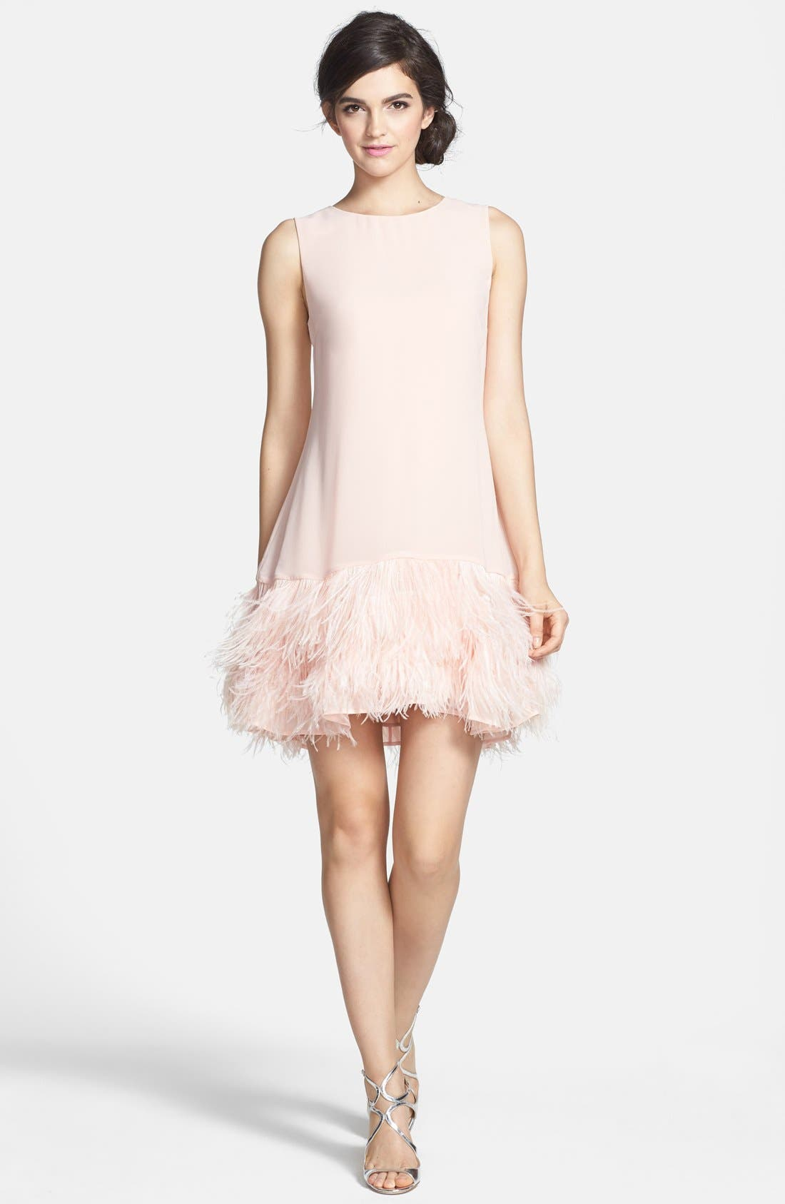ERIN ERIN FETHERSTON,                             'Phoebe' Ostrich Feather Hem Chiffon Shift Dress,                             Alternate thumbnail 4, color,                             668