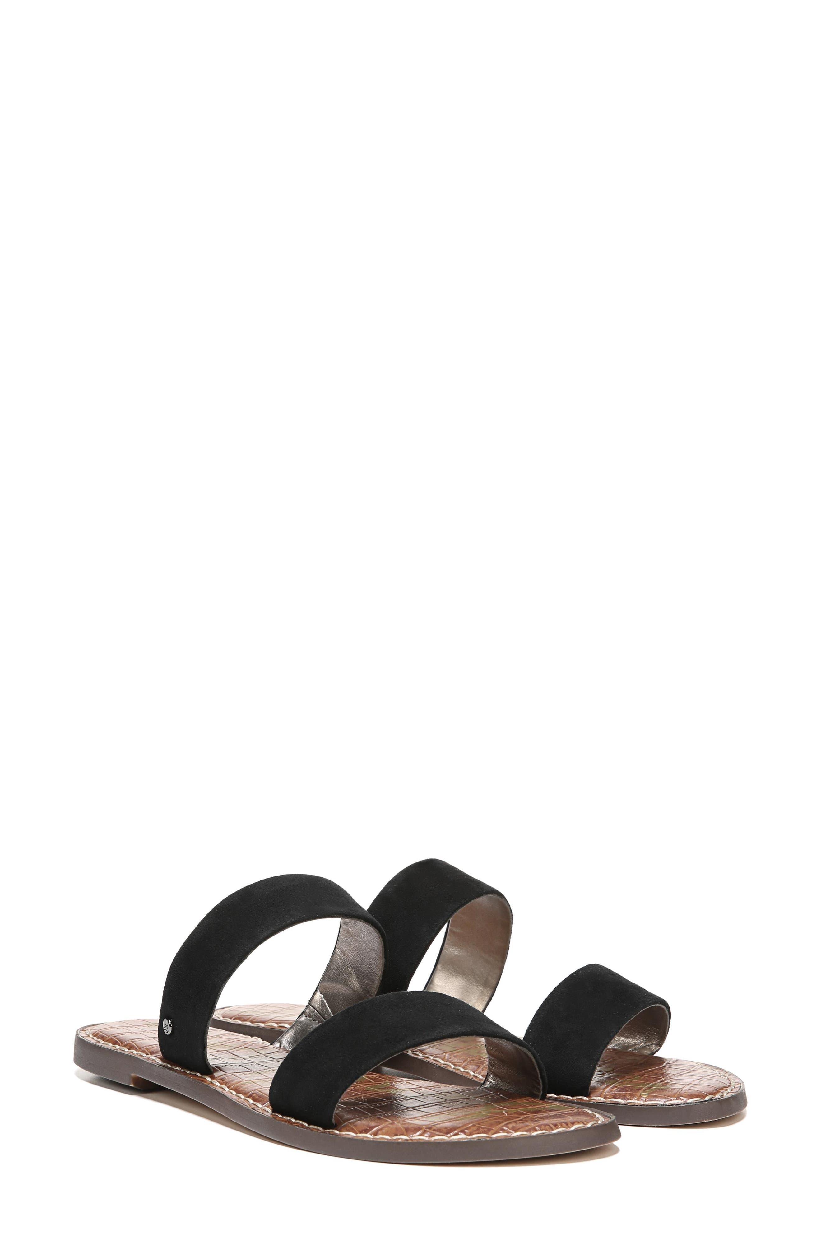 Gala Two Strap Slide Sandal,                             Alternate thumbnail 8, color,                             BLACK SUEDE