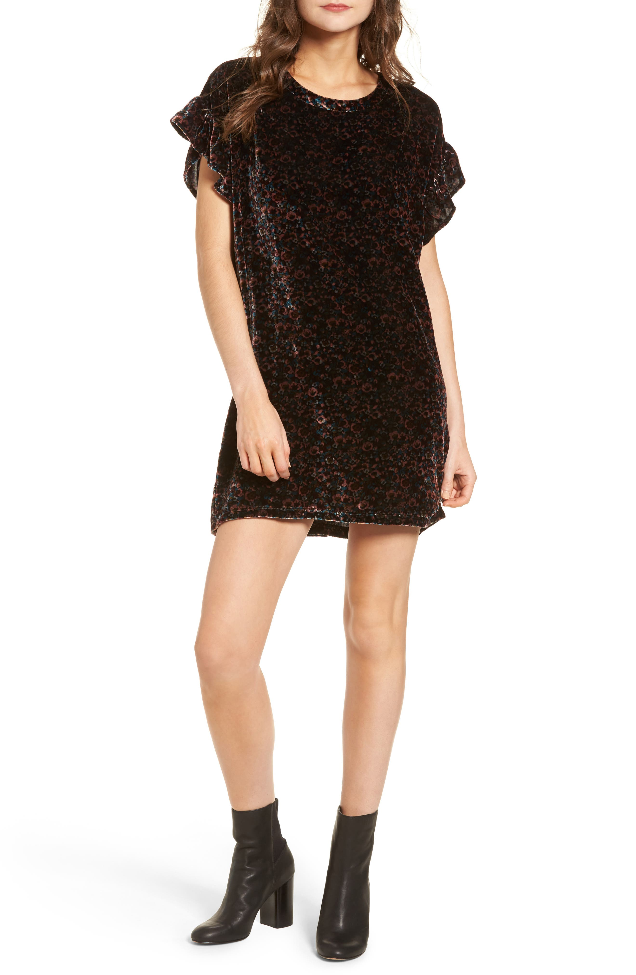The Janie Velvet Shift Dress,                         Main,                         color, 005
