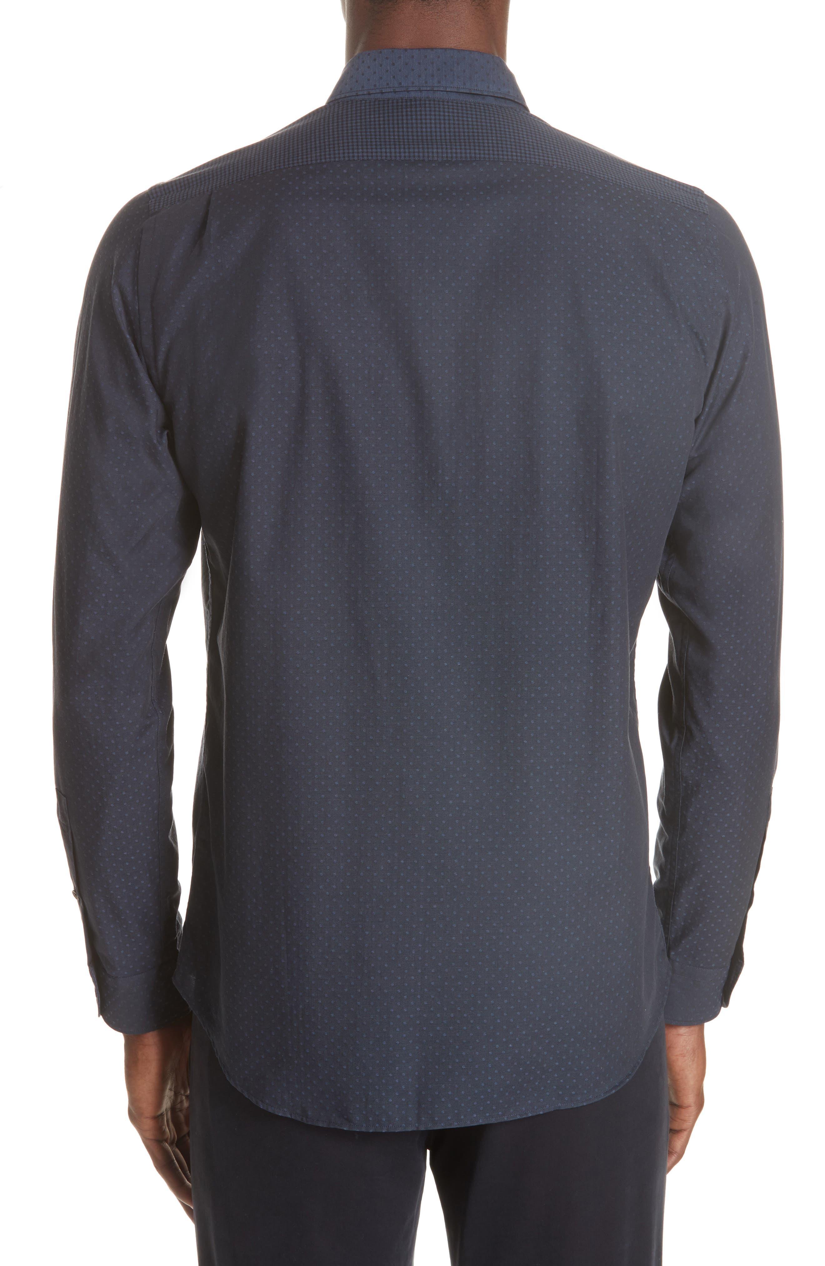 Mixed Print Sport Shirt,                             Alternate thumbnail 3, color,                             NAVY
