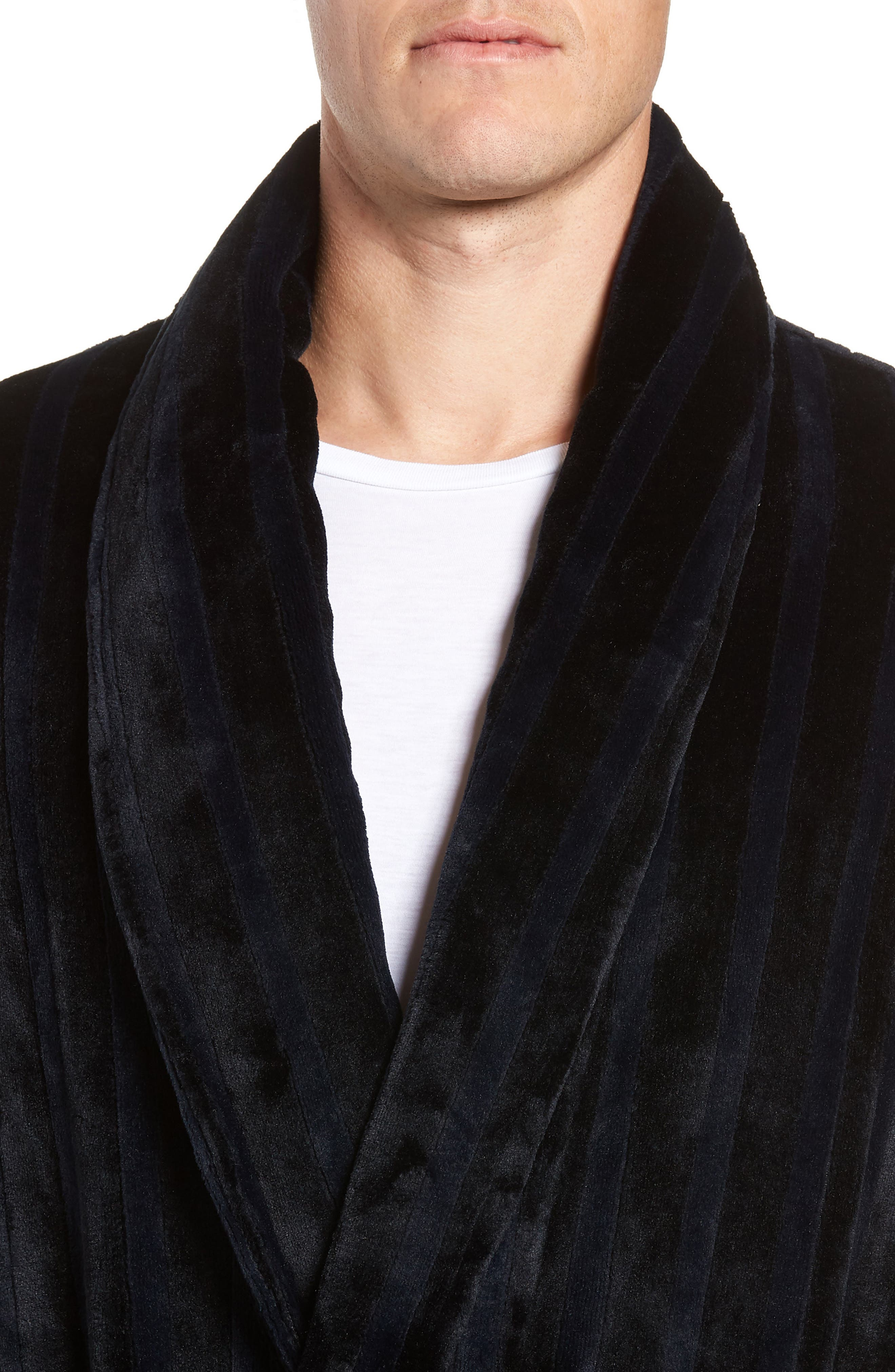 Vertical Stripe Fleece Robe,                             Alternate thumbnail 4, color,                             BLACK VERTICAL TONAL STRIPE