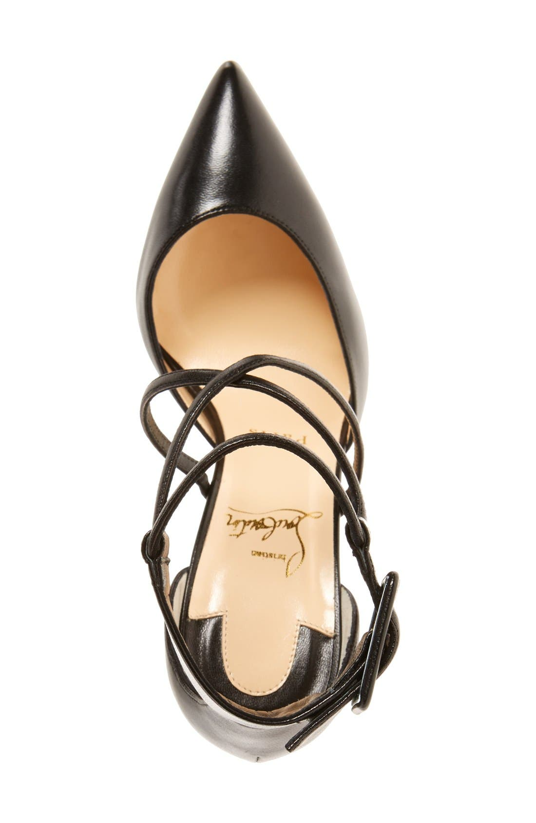 'Suzanna' Pointy Toe Pump,                             Alternate thumbnail 4, color,                             BLACK LEATHER