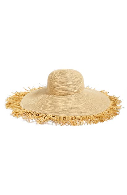 Eric Javits Hats FRINGED SQUISHEE PACKABLE FLOPPY HAT - BEIGE