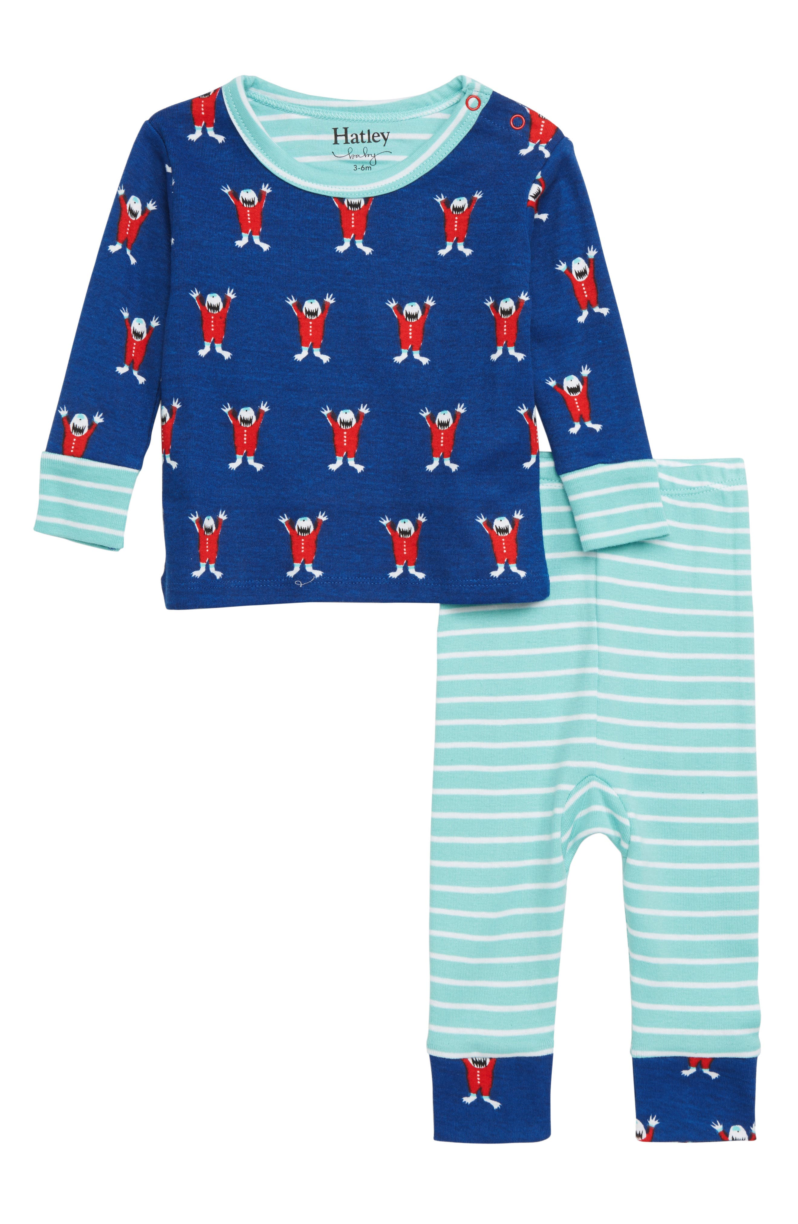 Infant Boys Hatley Organic Cotton Fitted TwoPiece Pajamas Size 1824M  Blue