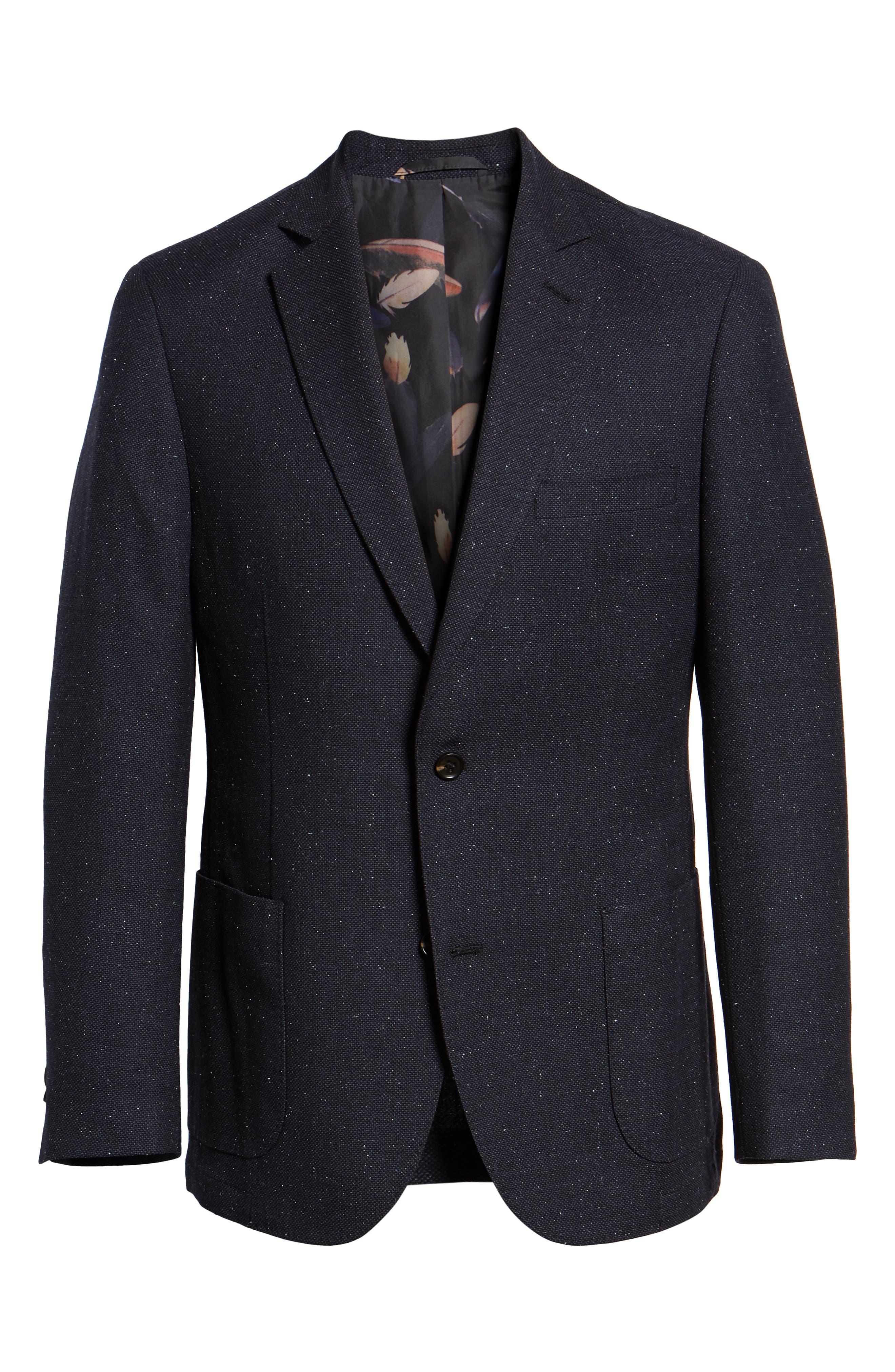 Regular Fit Wool & Silk Blazer,                             Alternate thumbnail 5, color,                             BLUE