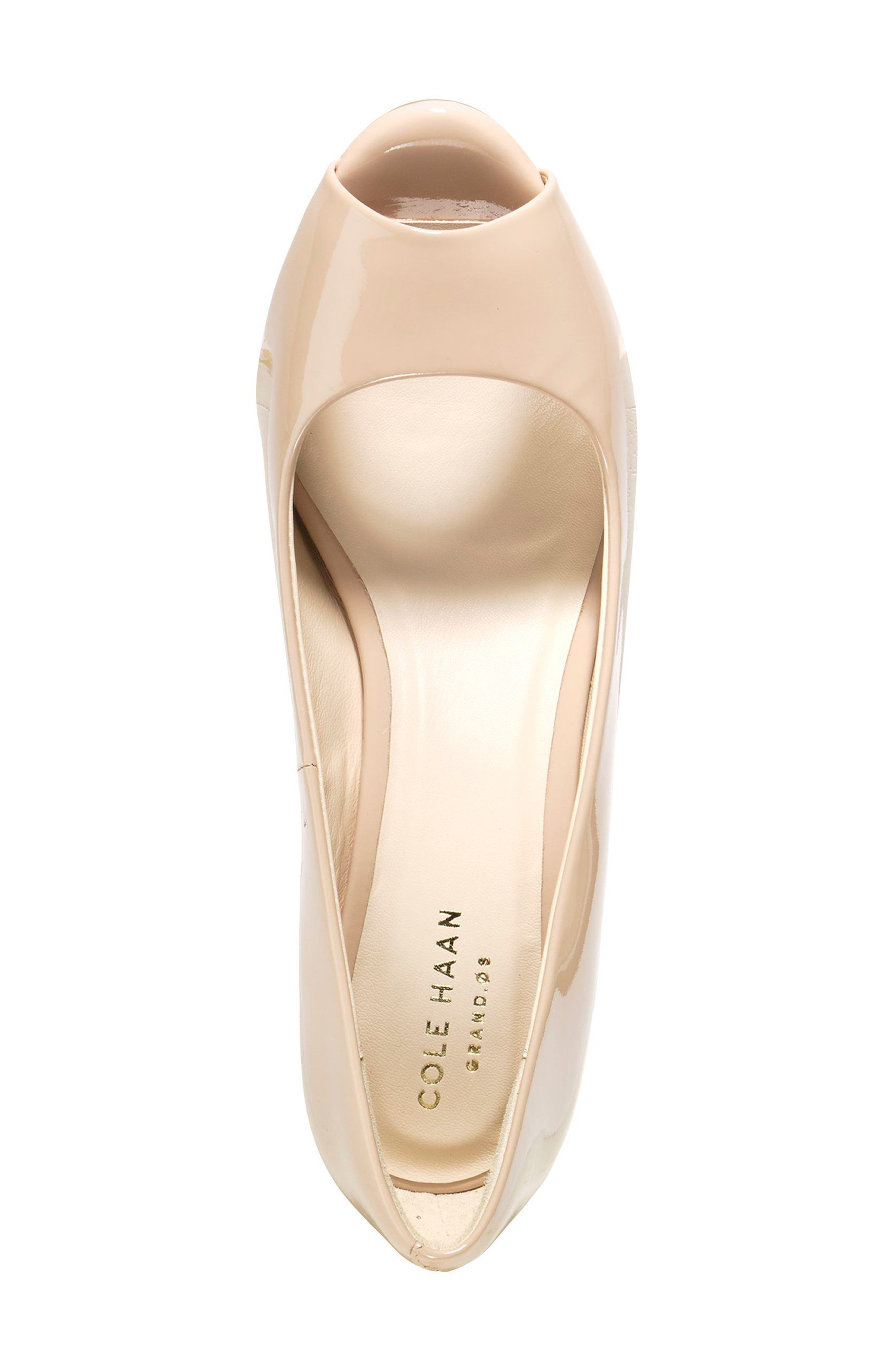 Sadie Open Toe Wedge Pump,                             Alternate thumbnail 4, color,                             NUDE PATENT LEATHER
