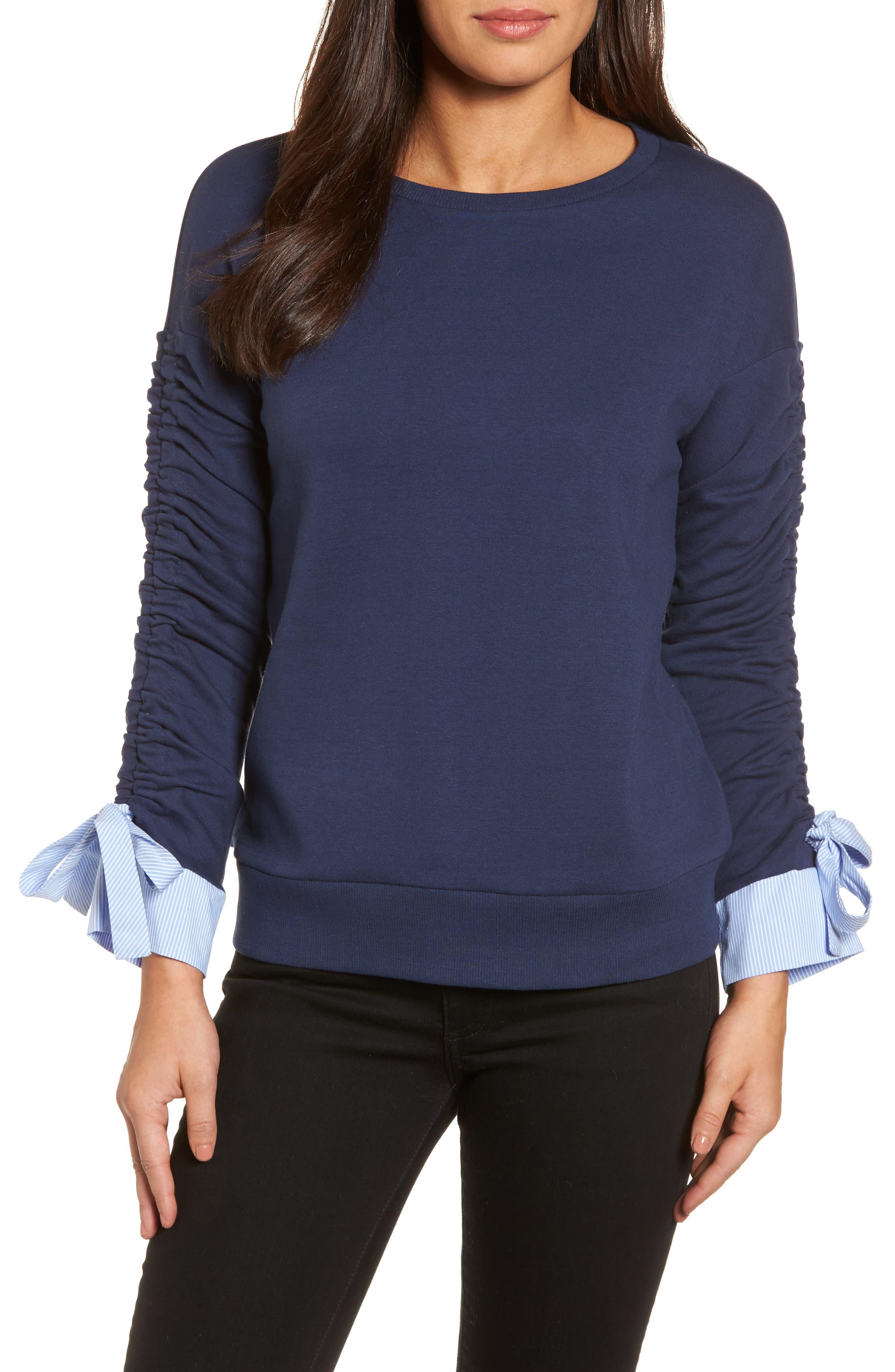 Ruched Sleeve Poplin Trim Sweatshirt,                             Main thumbnail 3, color,