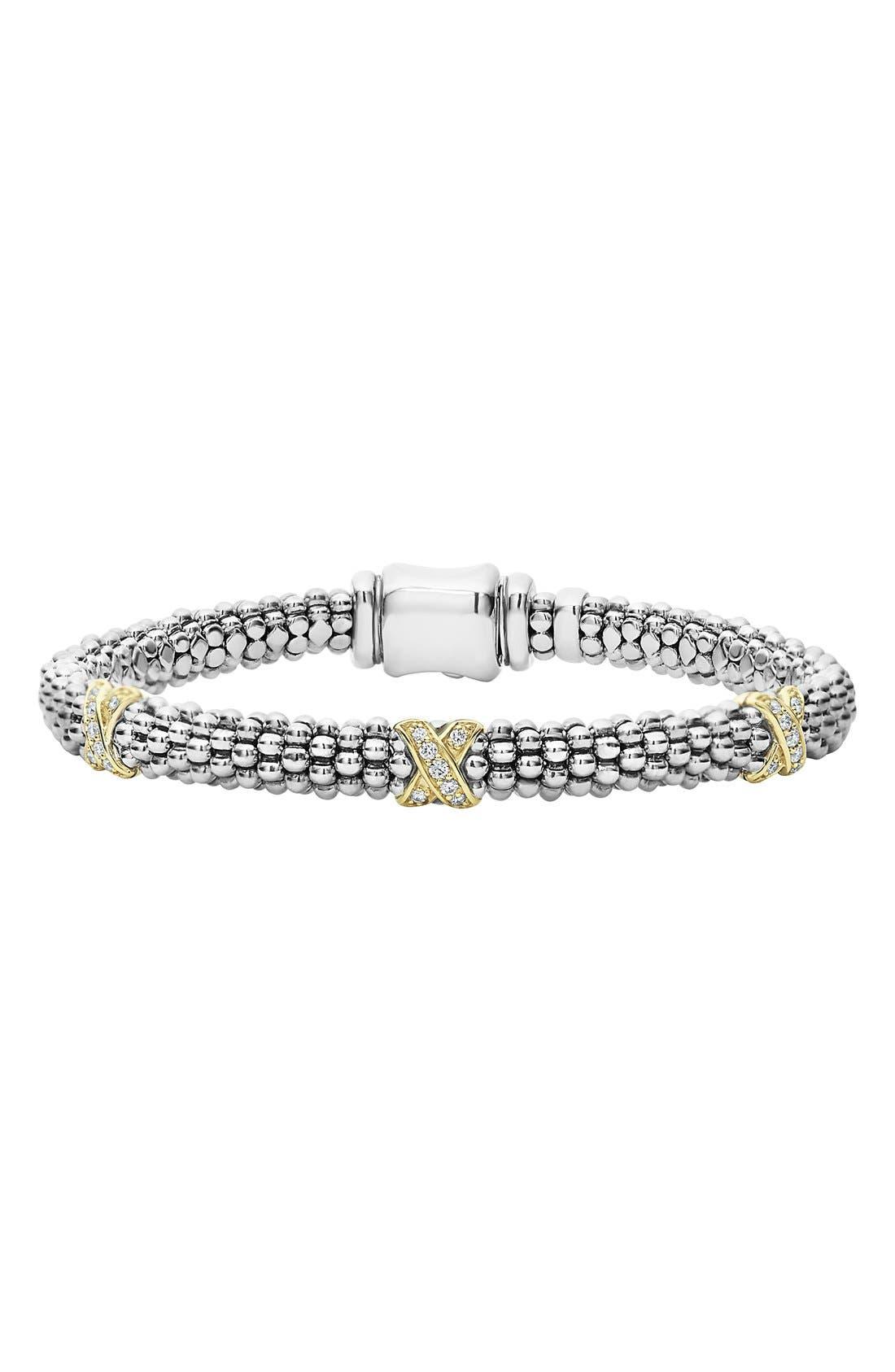 'Signature Caviar' Diamond Rope Bracelet,                             Main thumbnail 1, color,                             SILVER/ GOLD