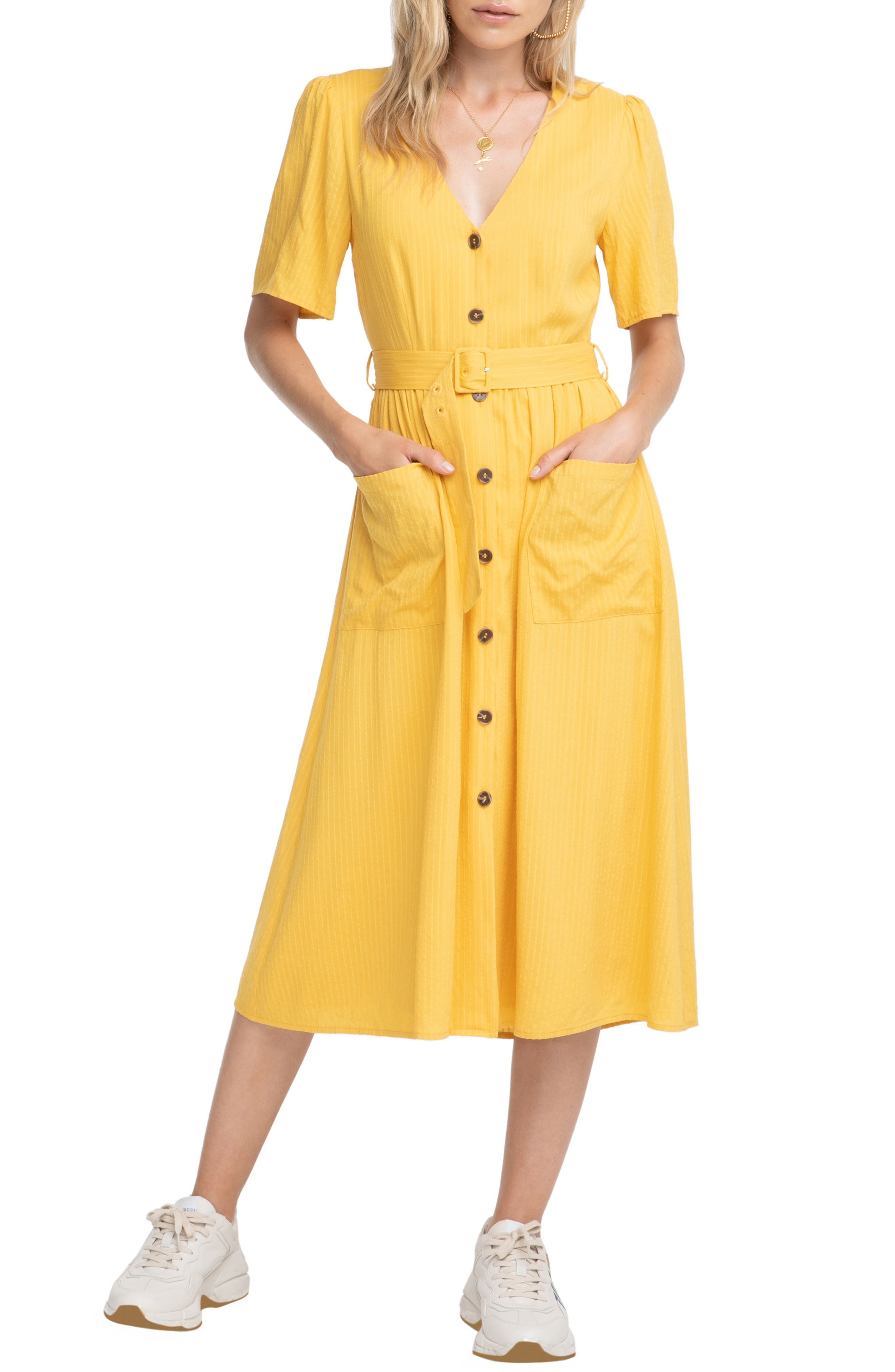Astr The Label Charli A-Line Dress, Yellow