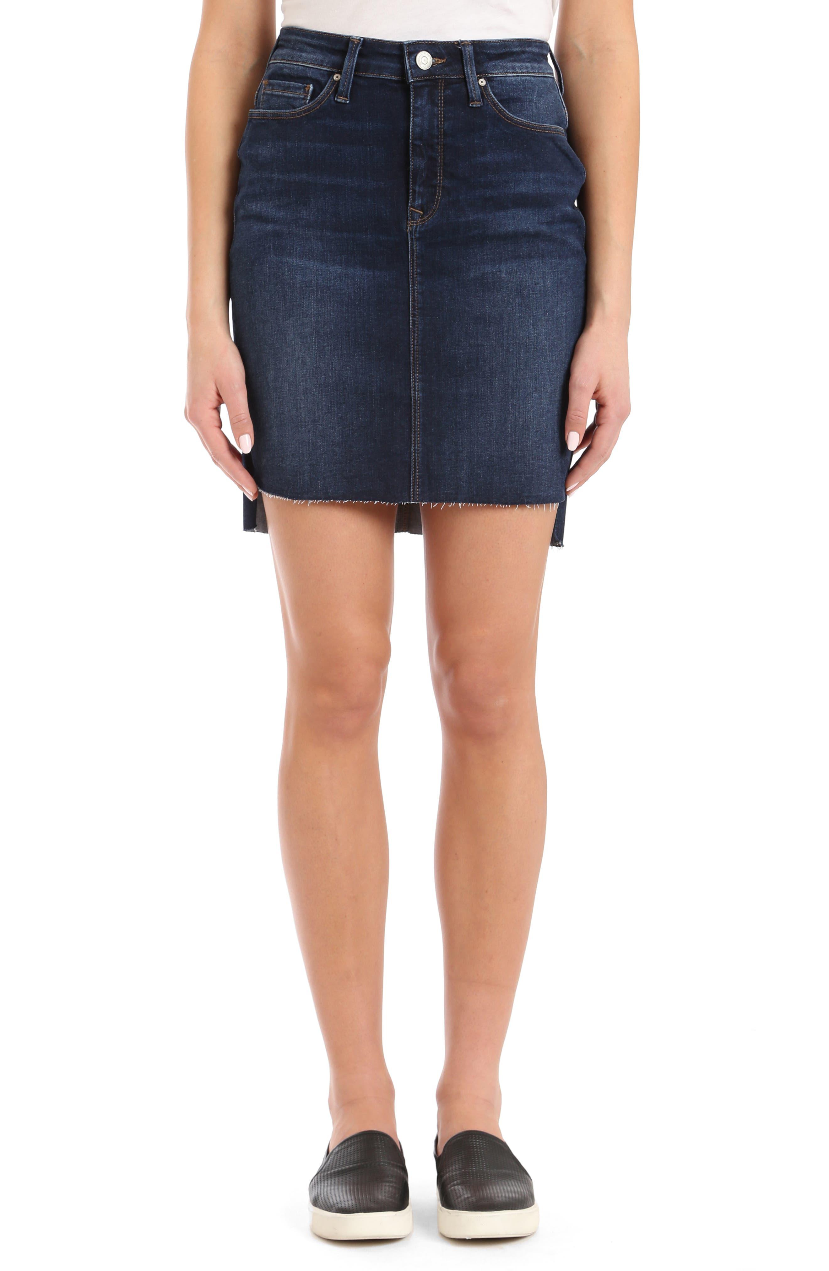 Mavi Jeans Mila Frayed Denim Skirt, Blue