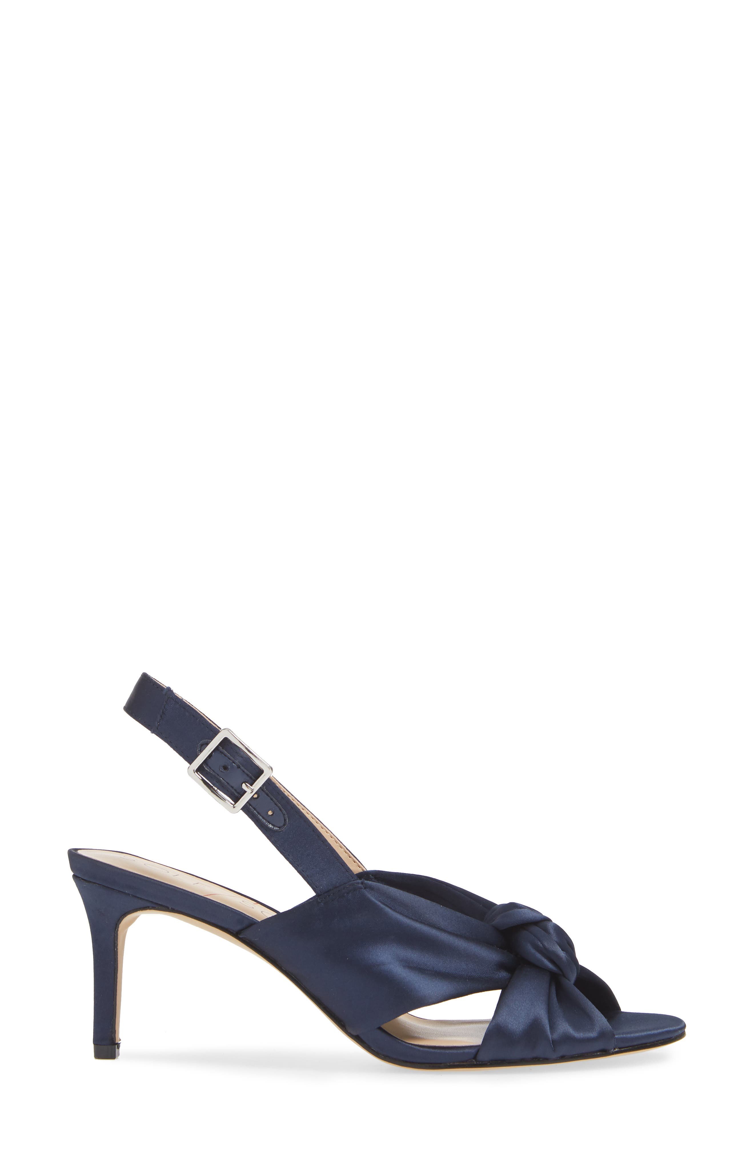Genneene Knotted Slingback Sandal,                             Alternate thumbnail 3, color,                             MIDNIGHT SATIN