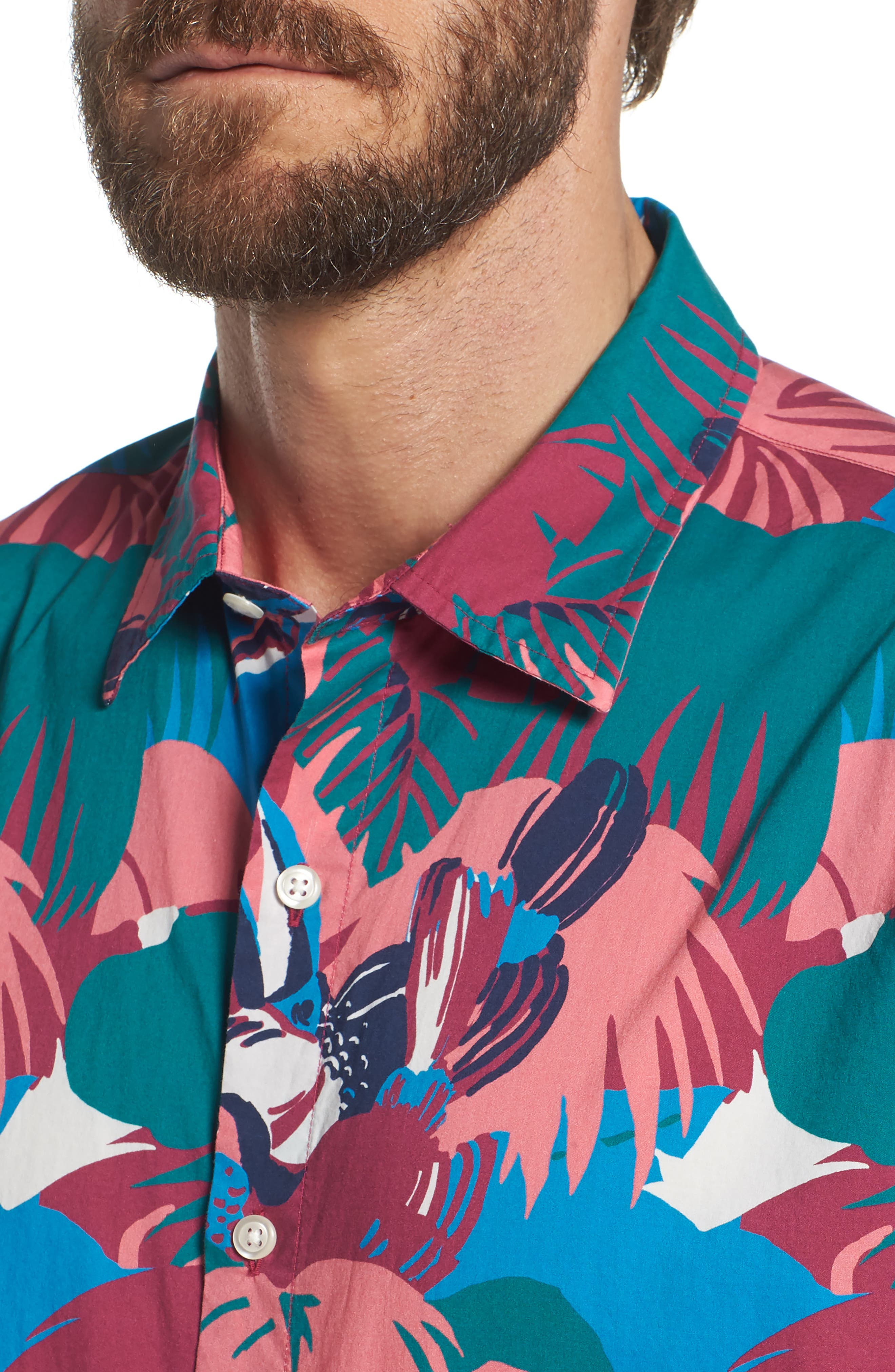 Riviera Slim Fit Toucan Print Sport Shirt,                             Alternate thumbnail 4, color,                             400