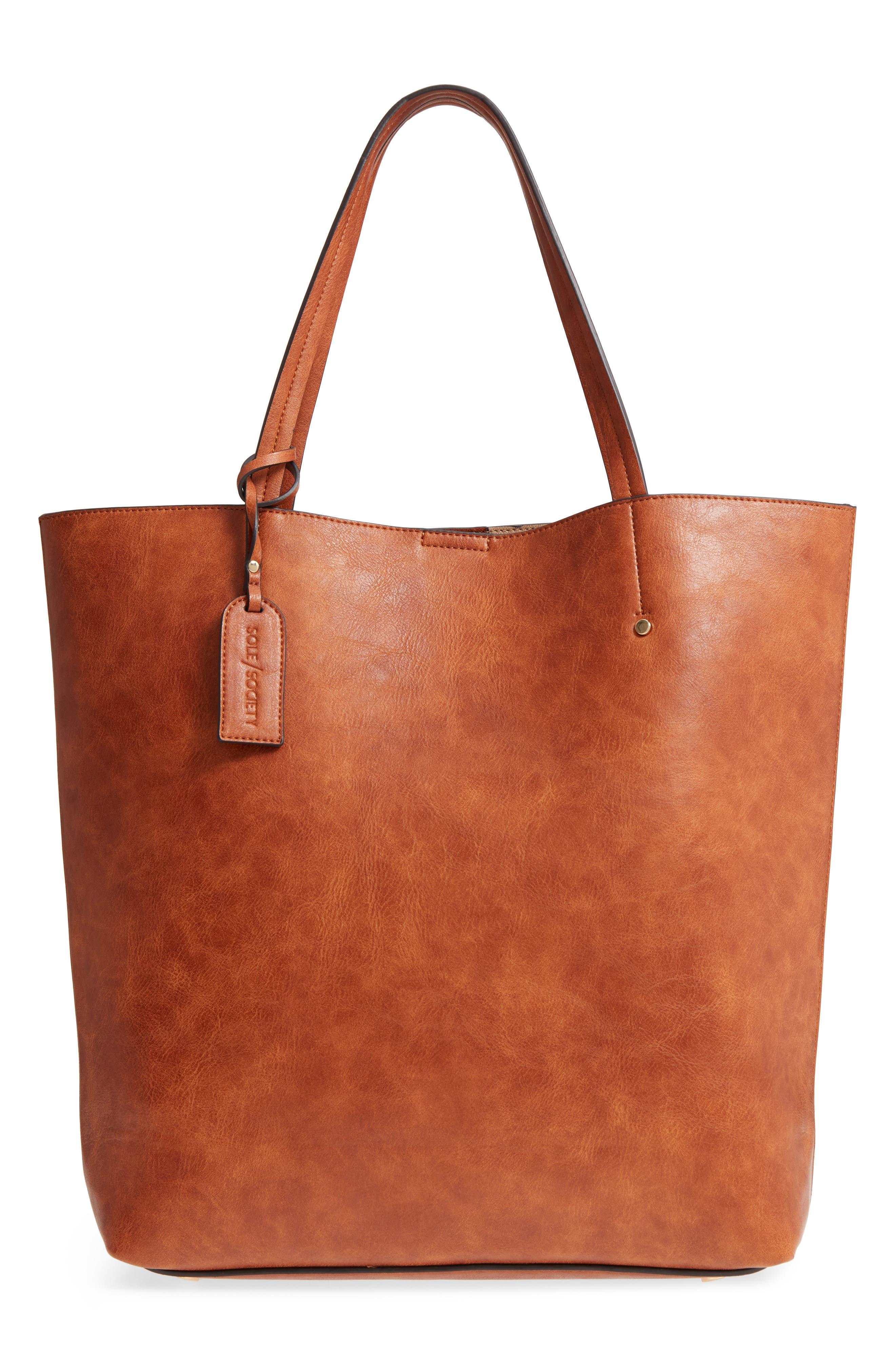 Nuddo Faux Leather Tote,                         Main,                         color, COGNAC