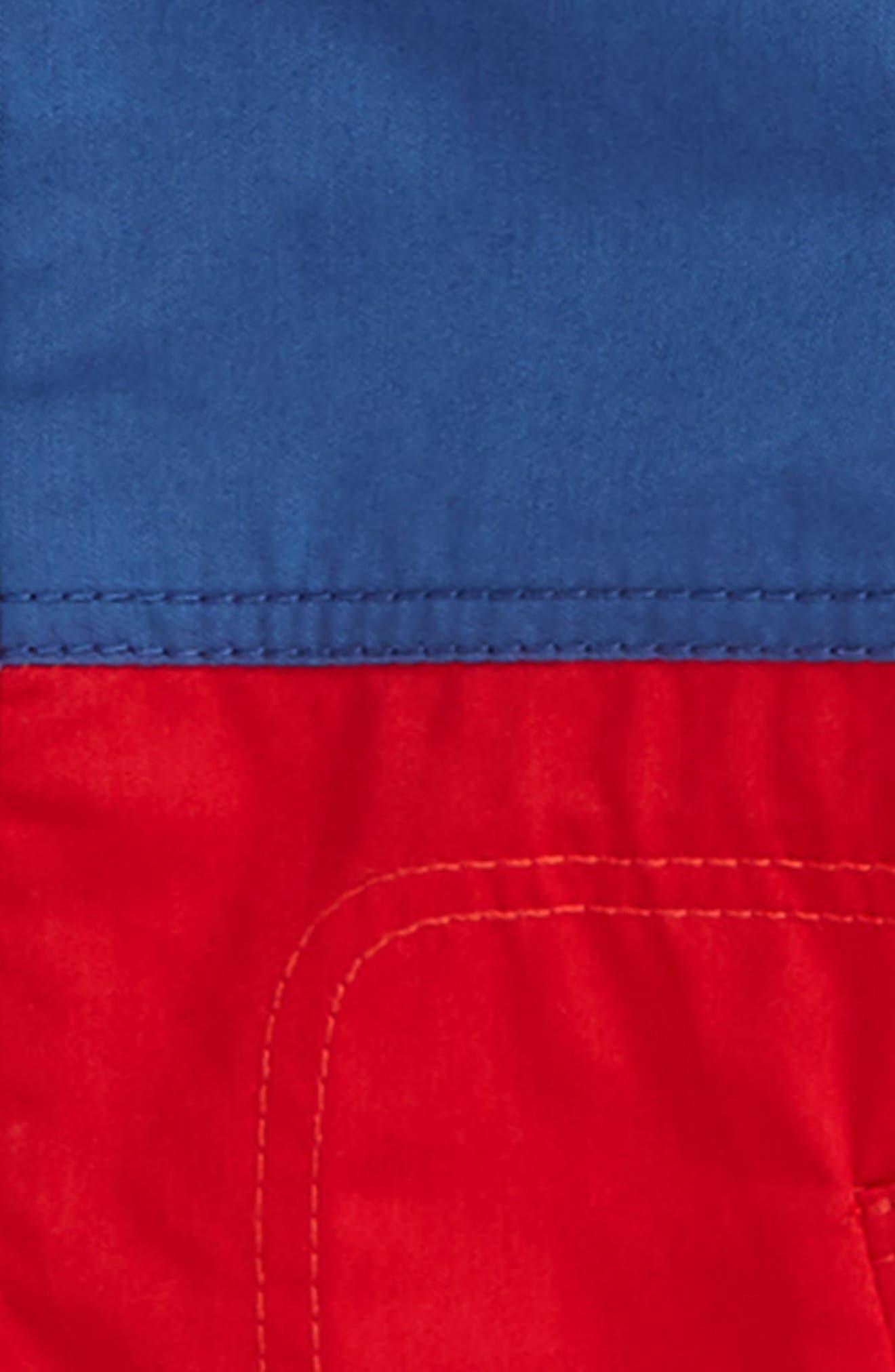 BURBERRY,                             Hunter Color Block Waterproof Hooded Coat,                             Alternate thumbnail 3, color,                             DUSTY BLUE
